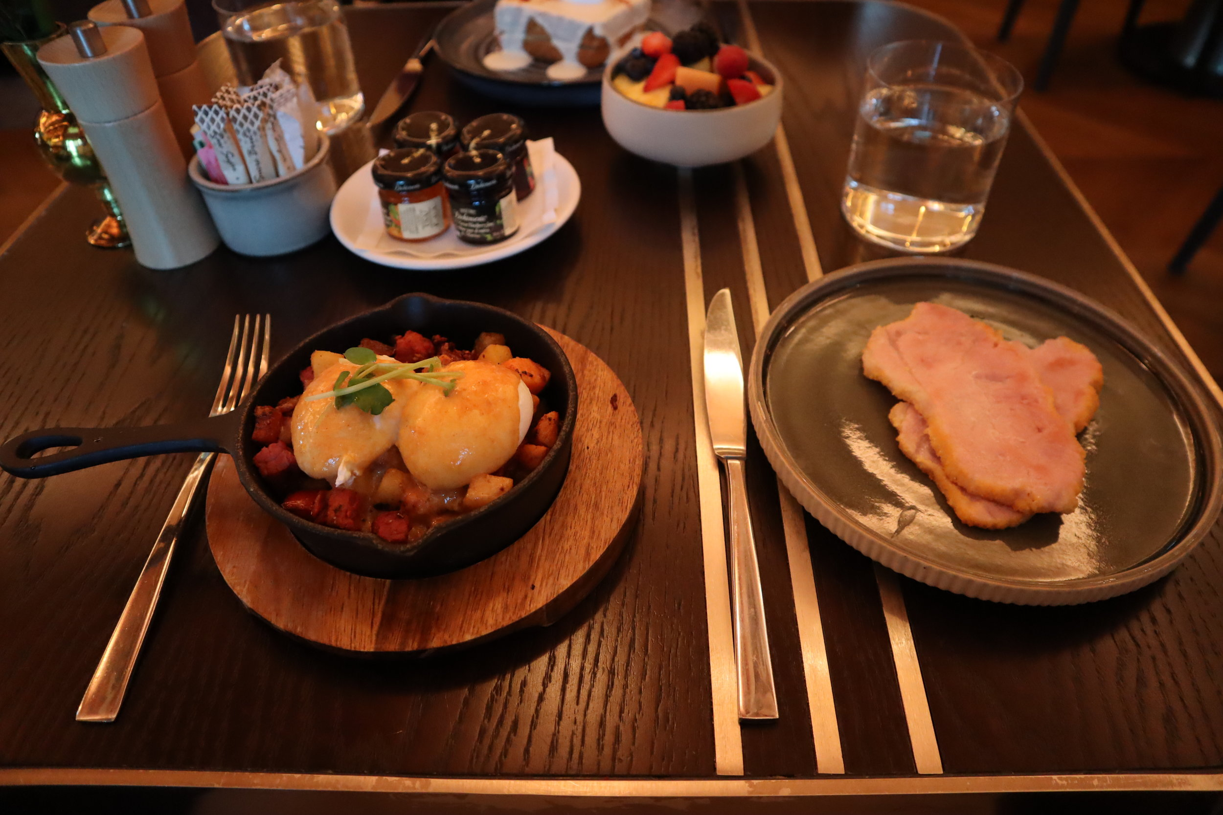 St. Regis Toronto – Pastrami hash skillet with peameal bacon