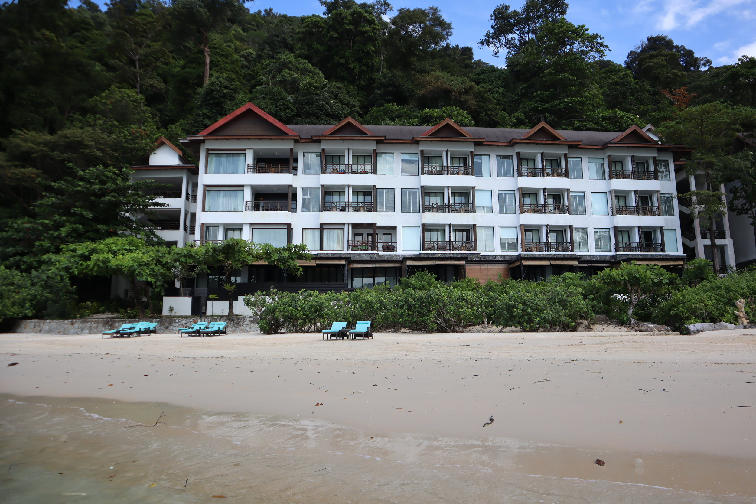 The Andaman Langkawi – View of resort from beach