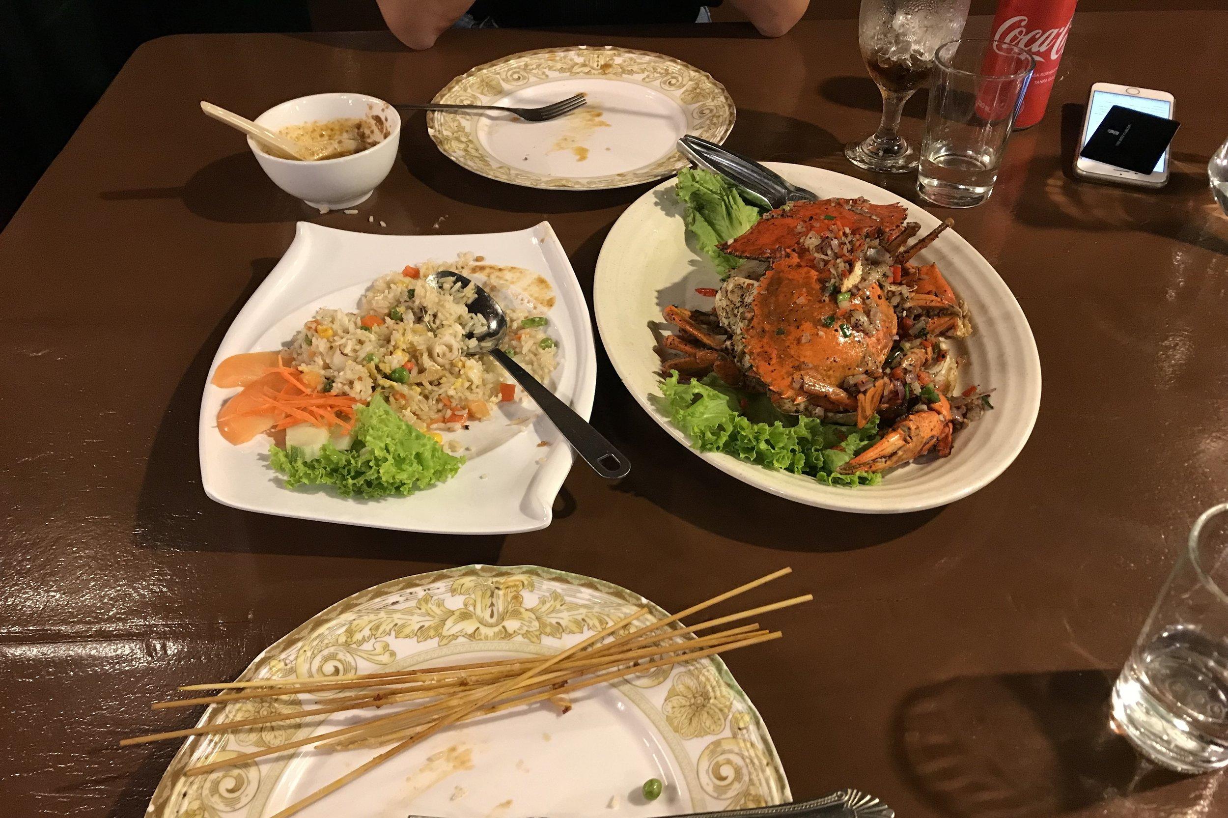 Cheap seafood at Pantai Cenang Beach