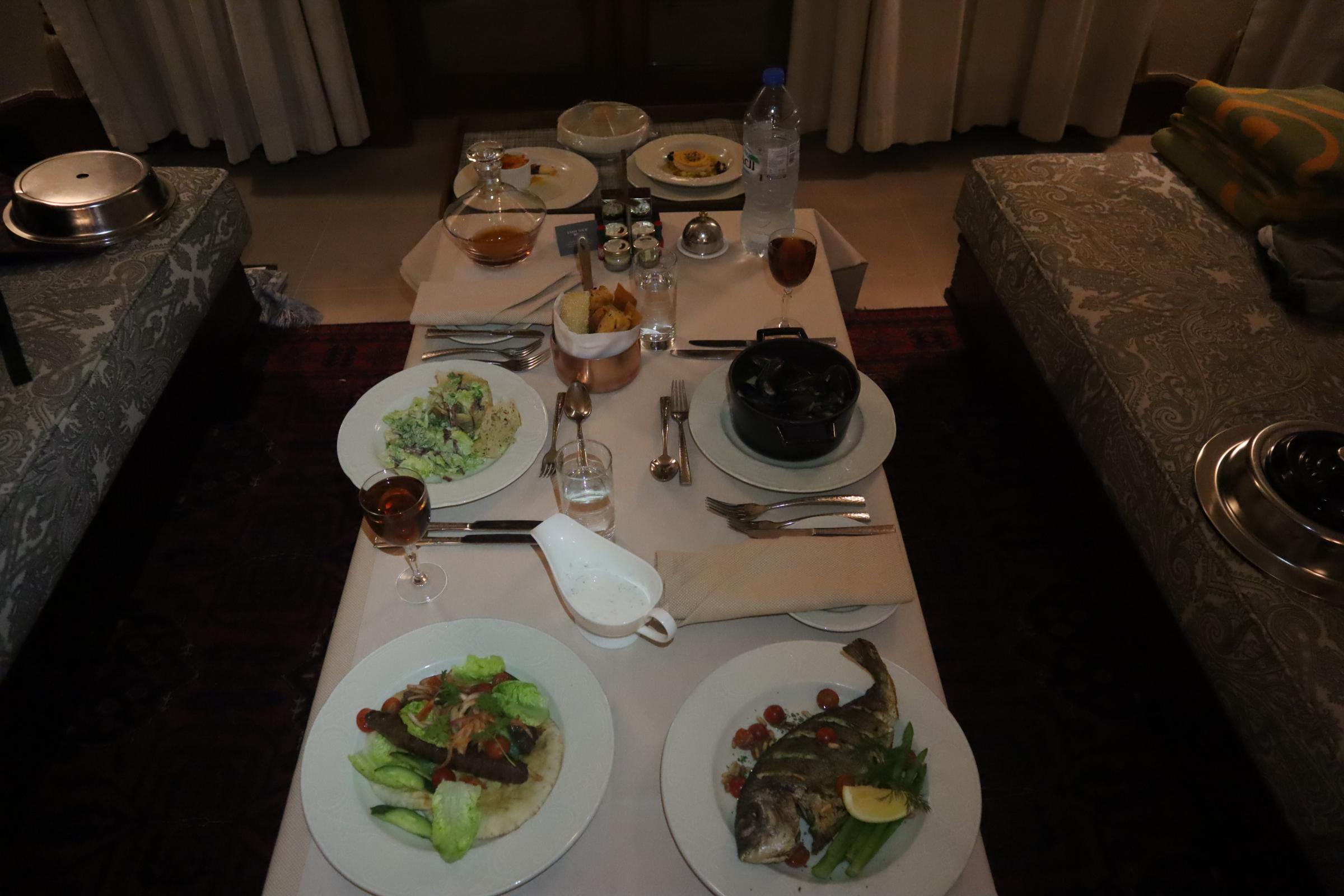 Room service dinner at Al Maha