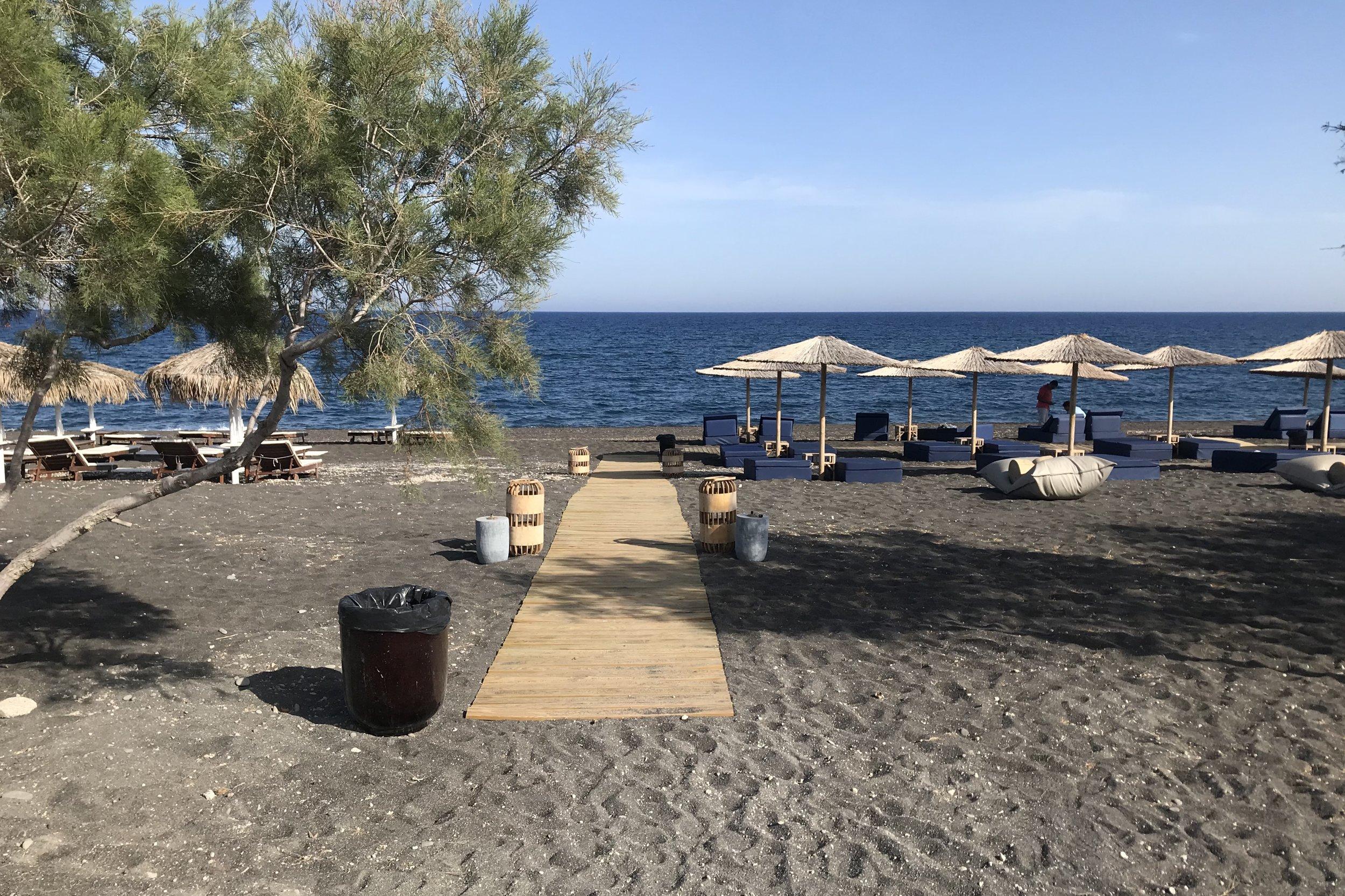 Black sand beach at Istoria Hotel