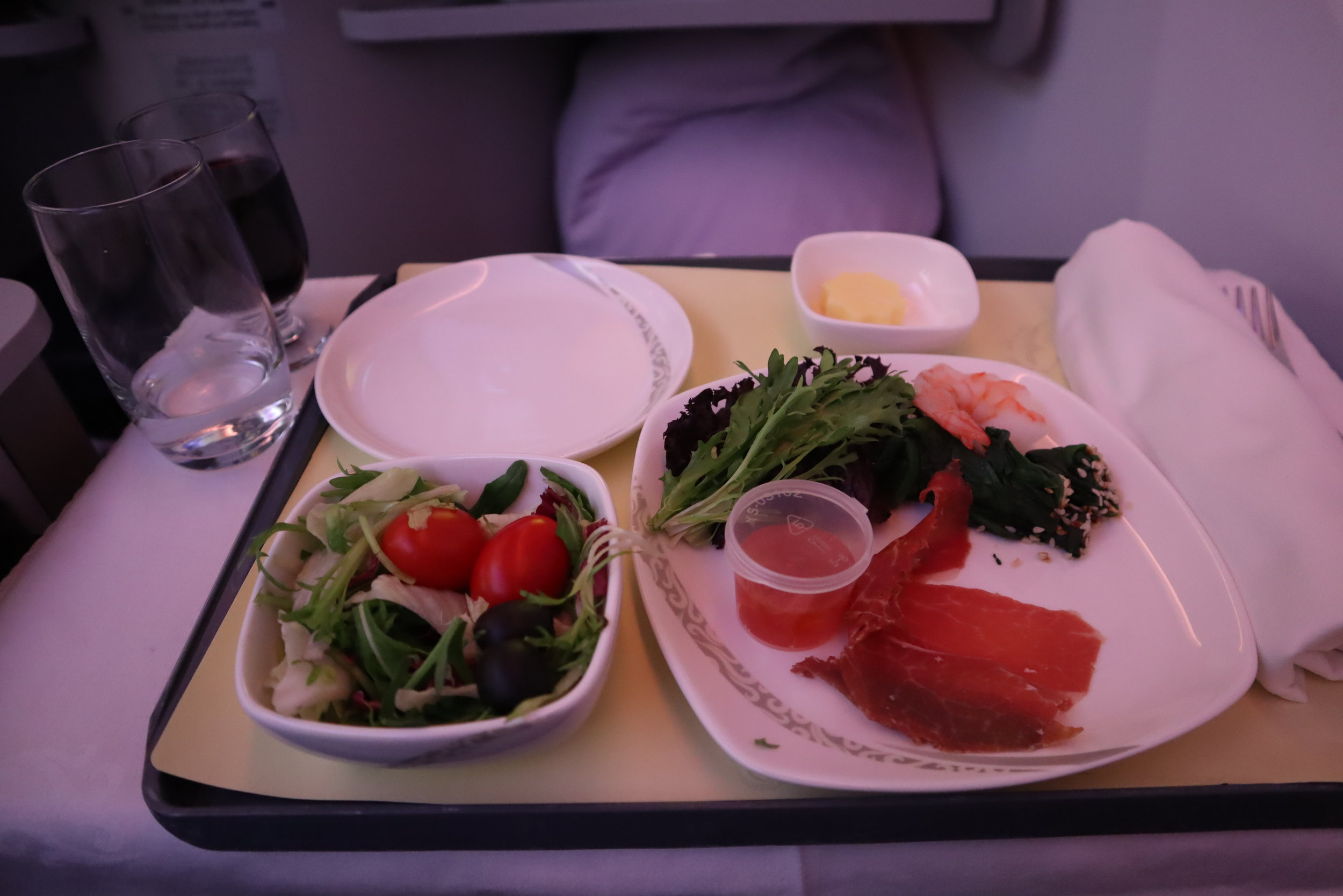 Air China business class – Cold cut plate with salad