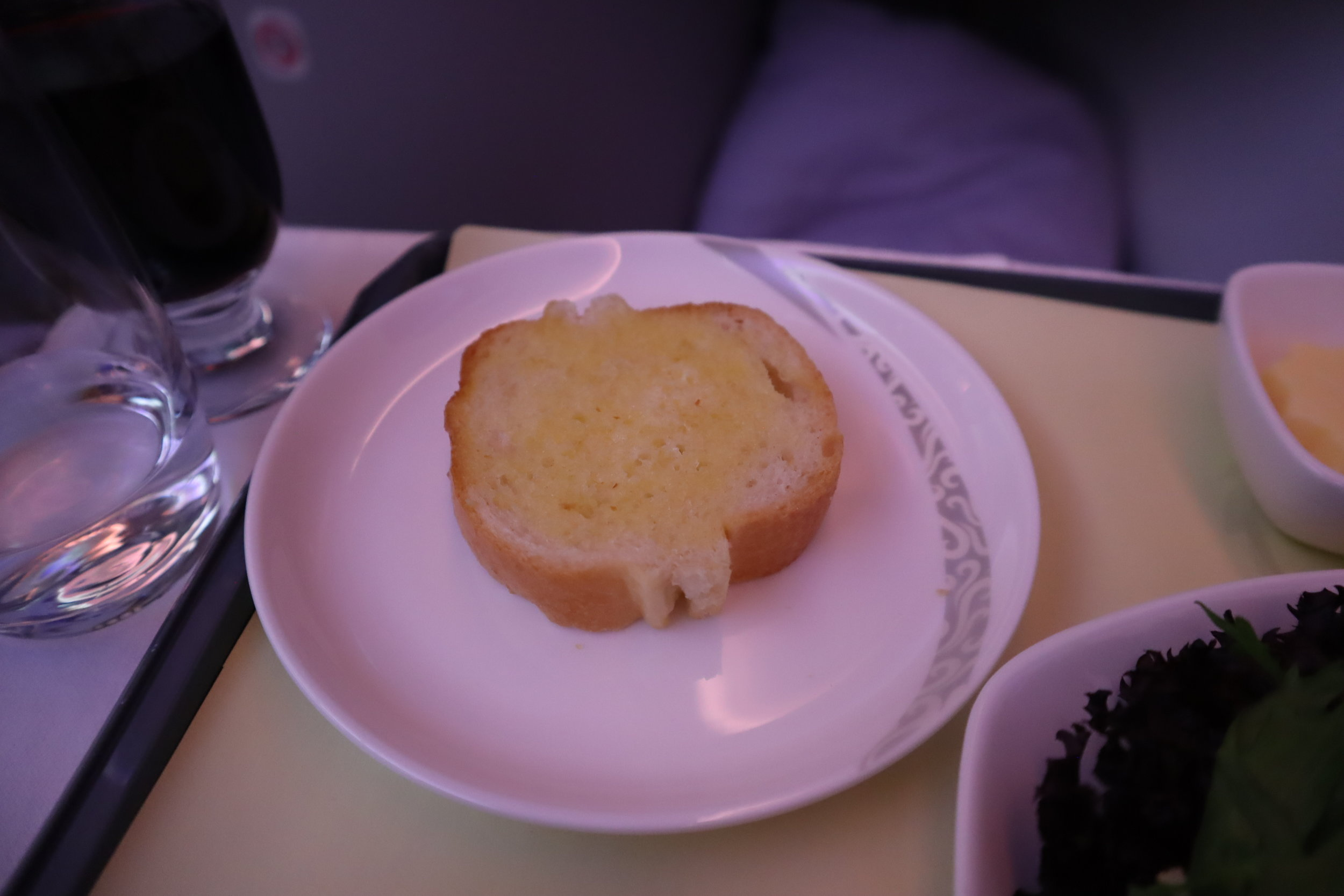Air China business class – Garlic bread