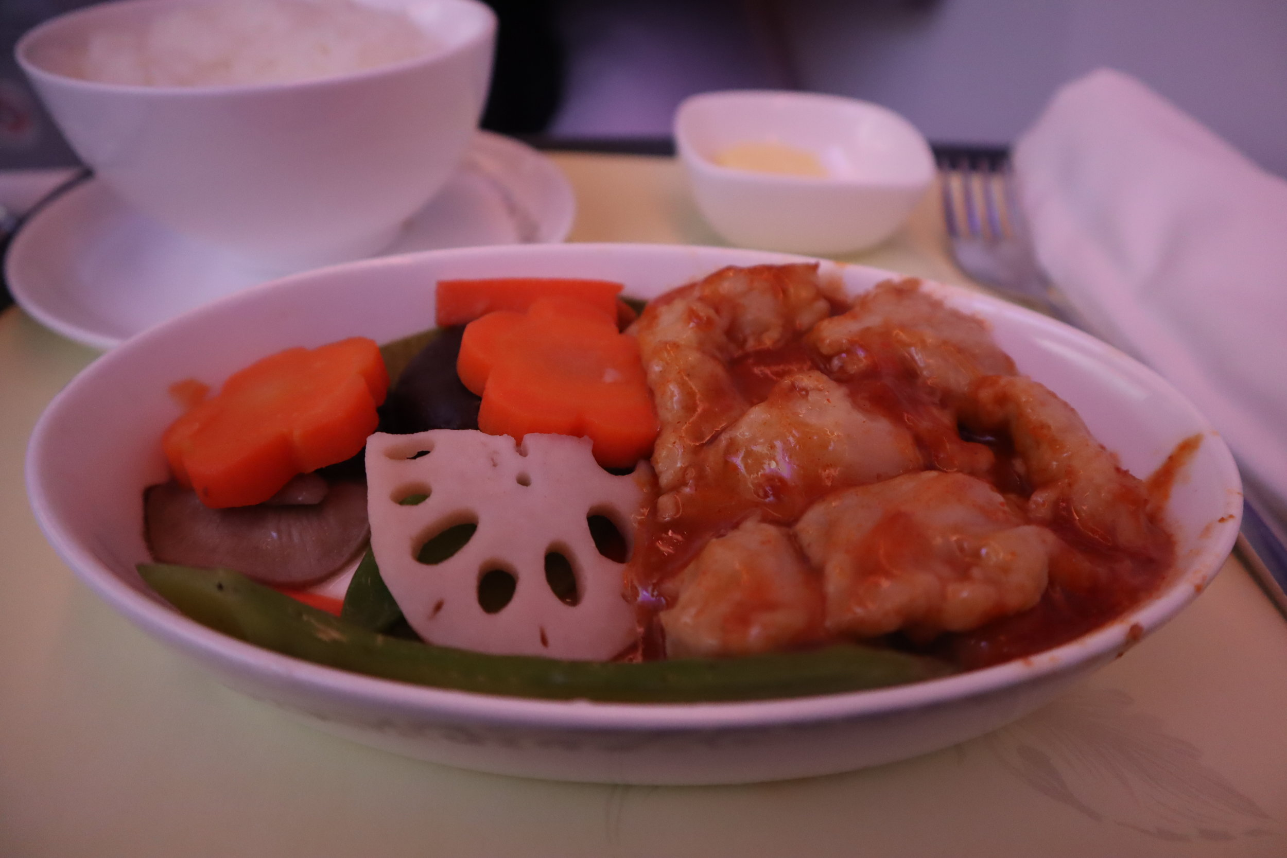 Air China business class – Sautéed spicy chicken with rice