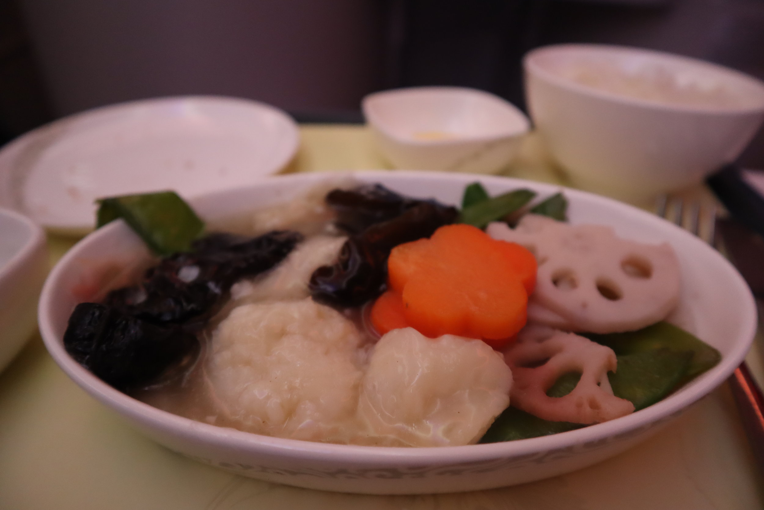 Air China business class – Fish in rice wine sauce