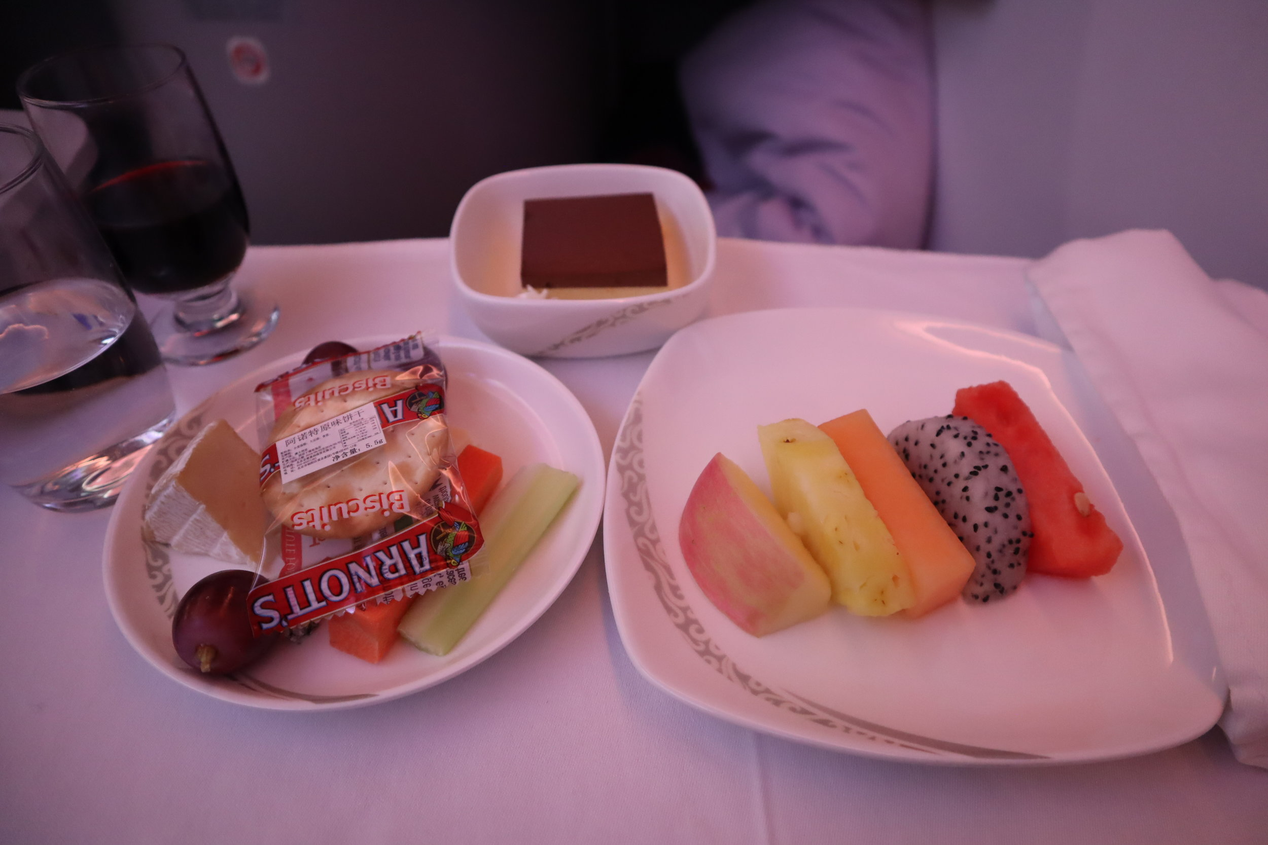 Air China business class – Dessert, cheese, and fruit