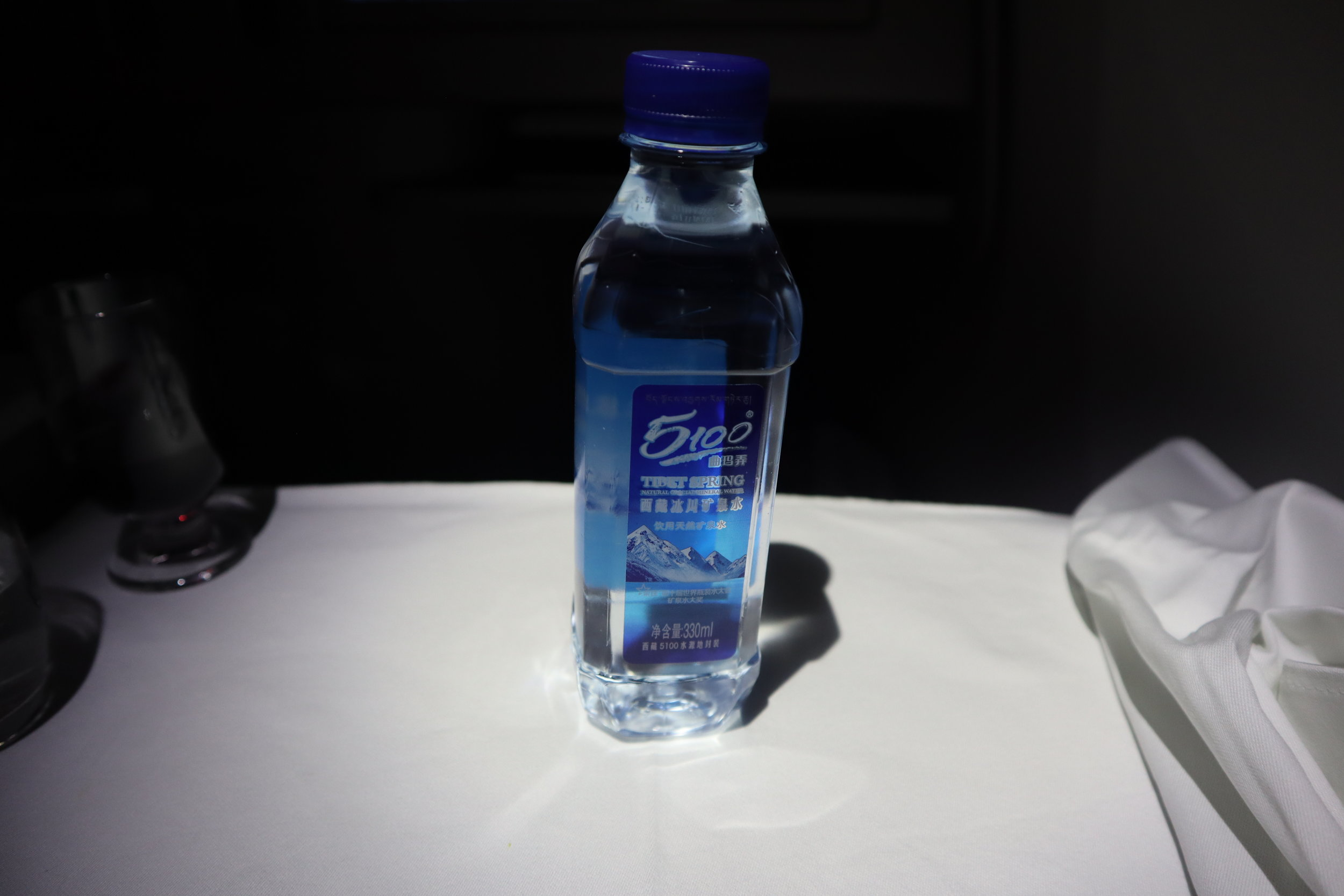 Air China business class – Bottled water