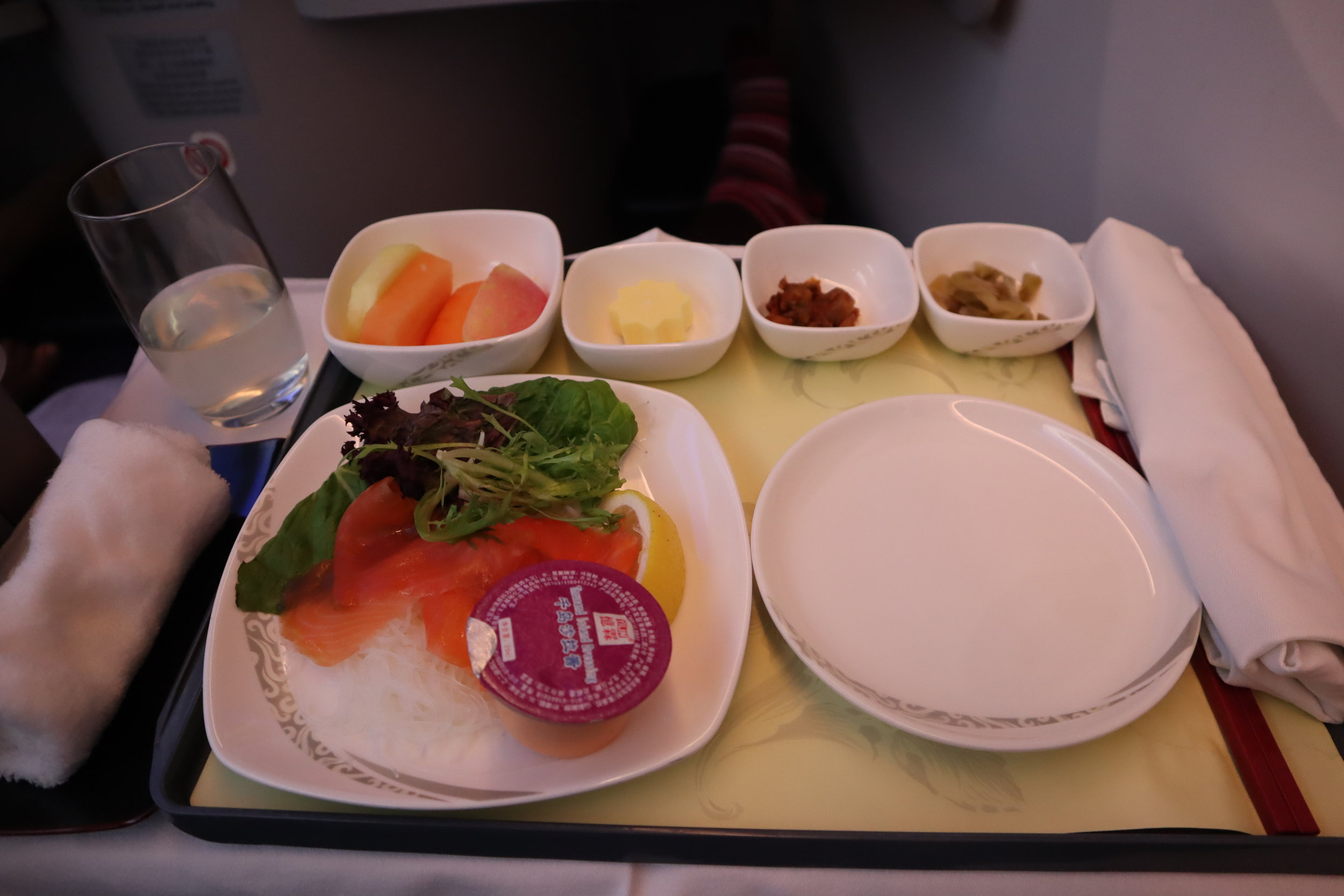 Air China business class – Salmon and vermicelli salad