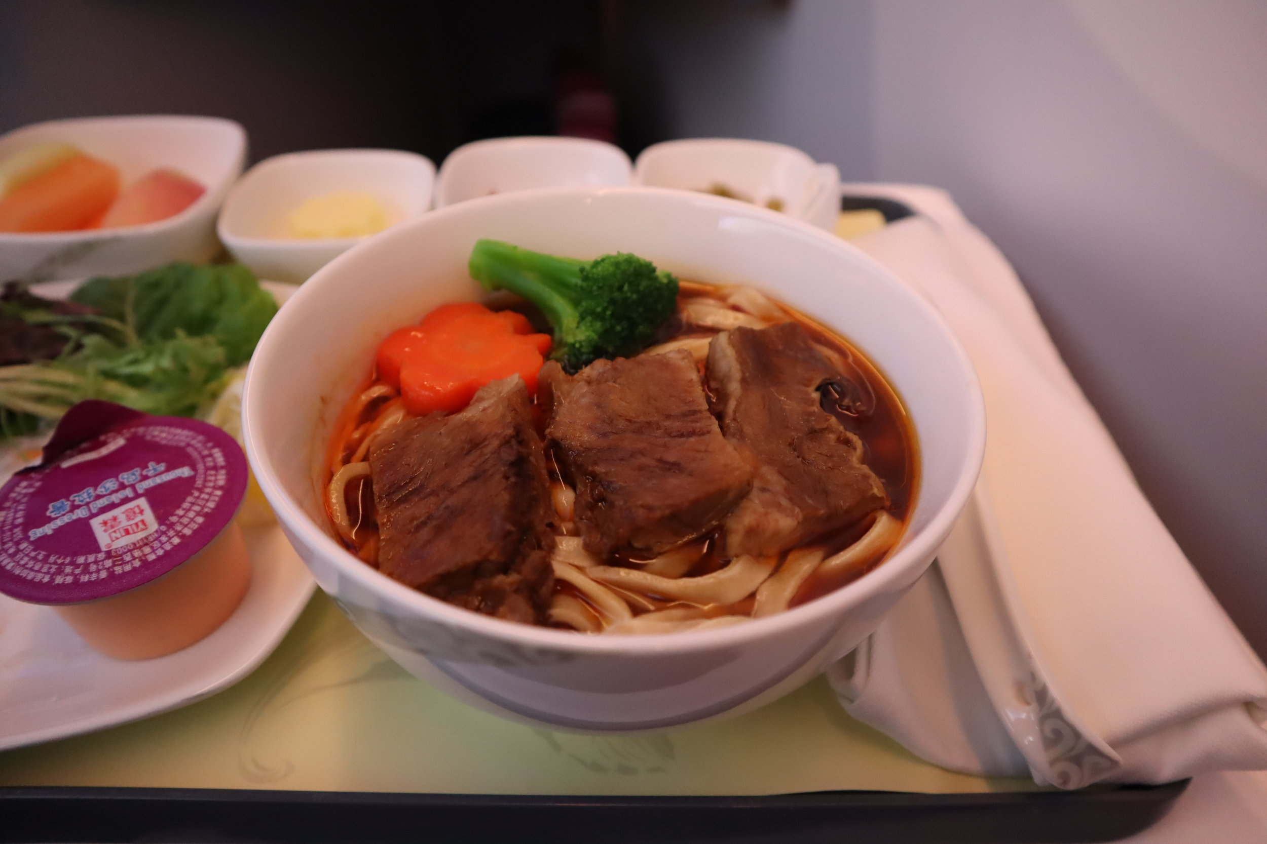 Air China business class – Beef noodles