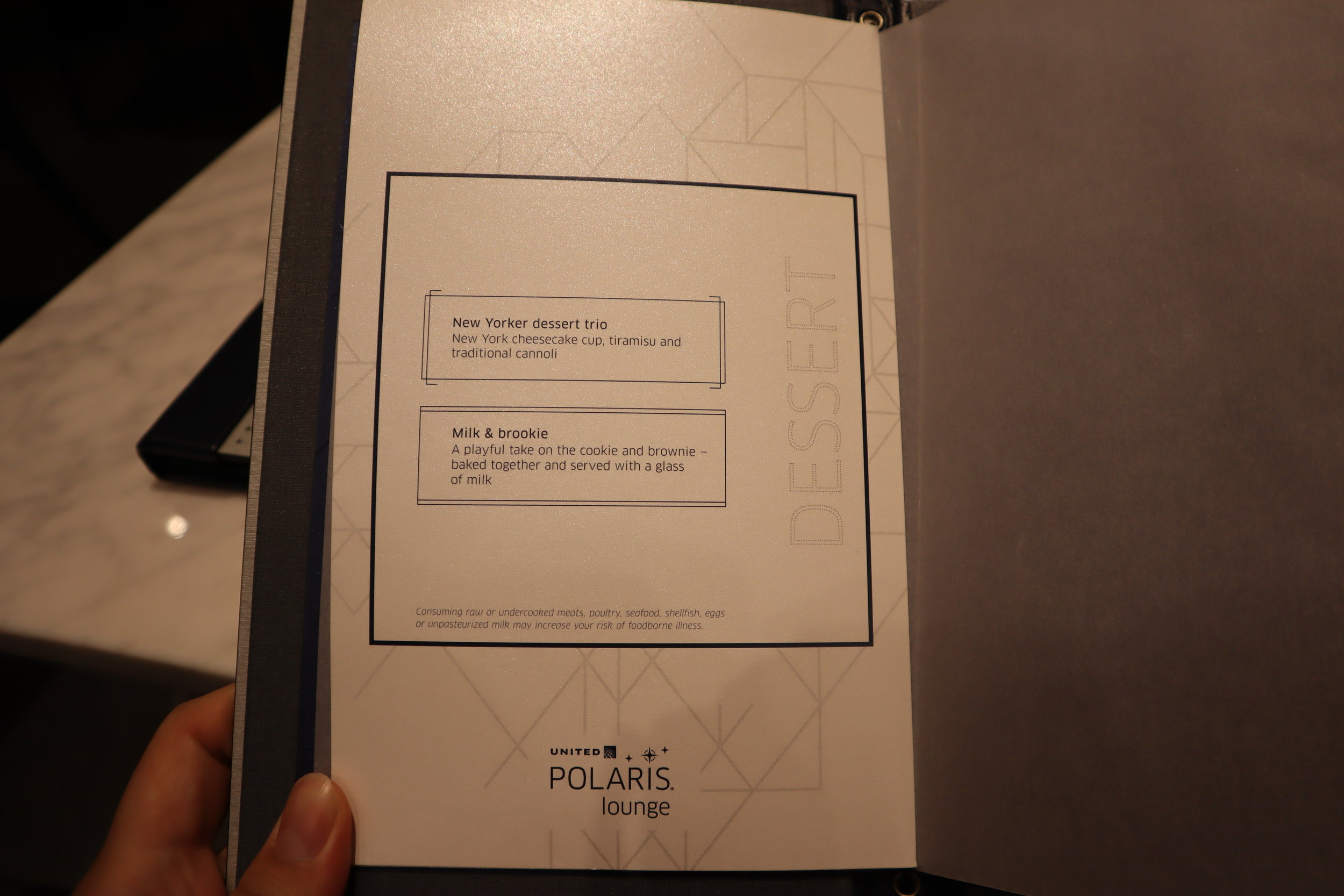 United Polaris Lounge Newark – Menu