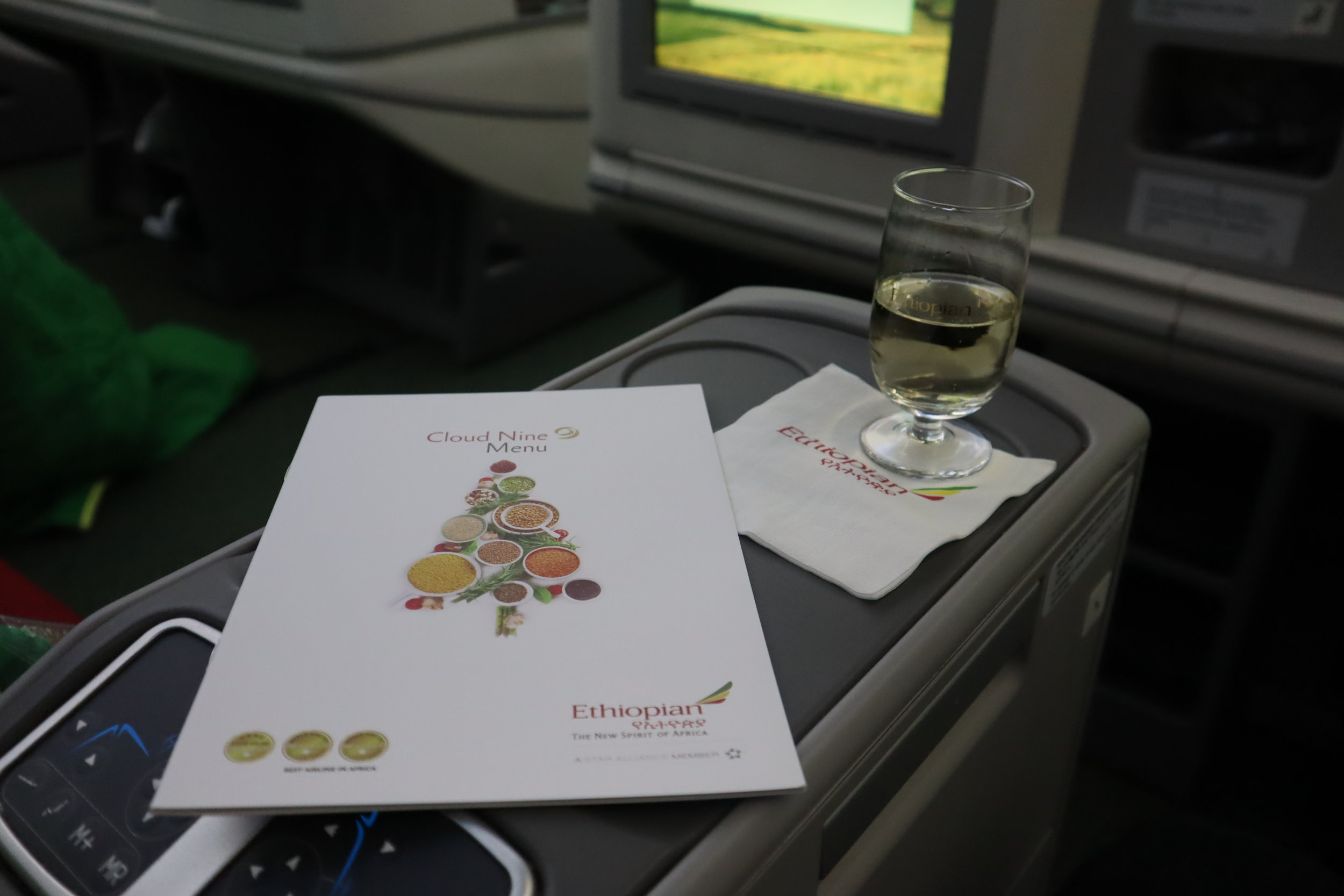 Ethiopian Airlines business class – Welcome drink and menu