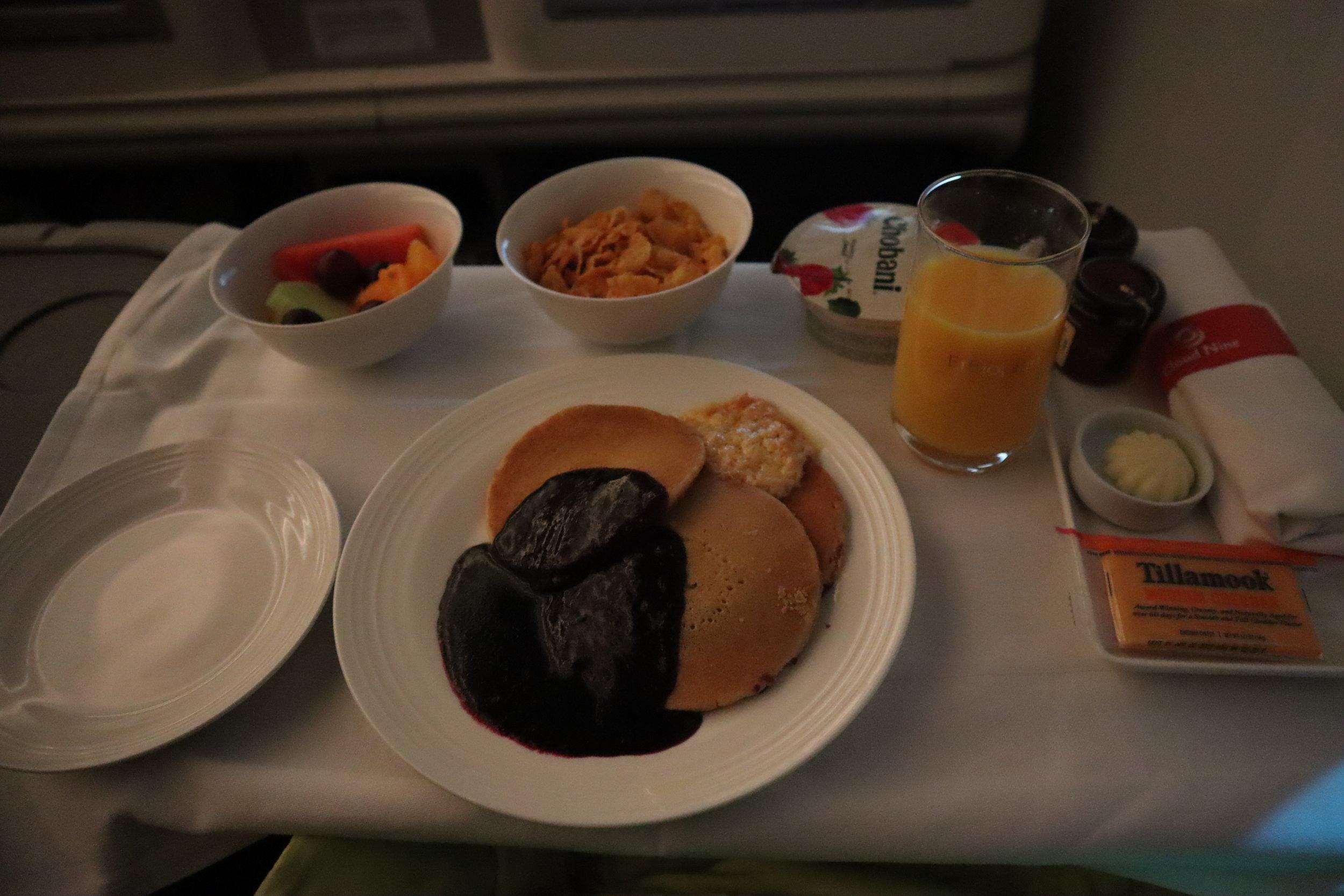 Ethiopian Airlines business class – Breakfast