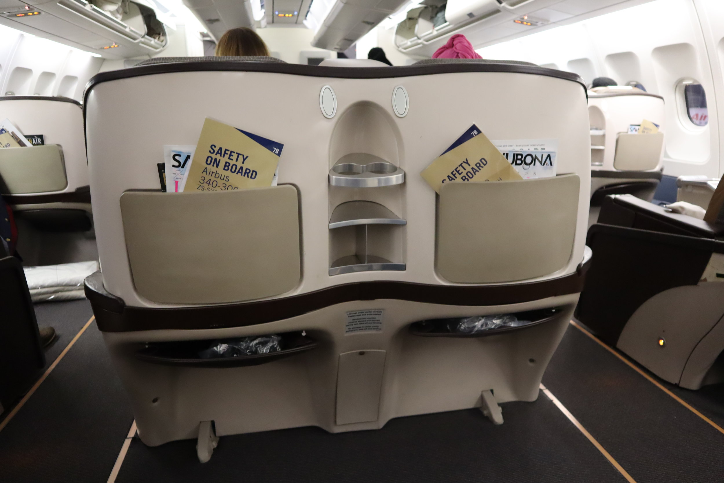 South African Airways business class – Seat back
