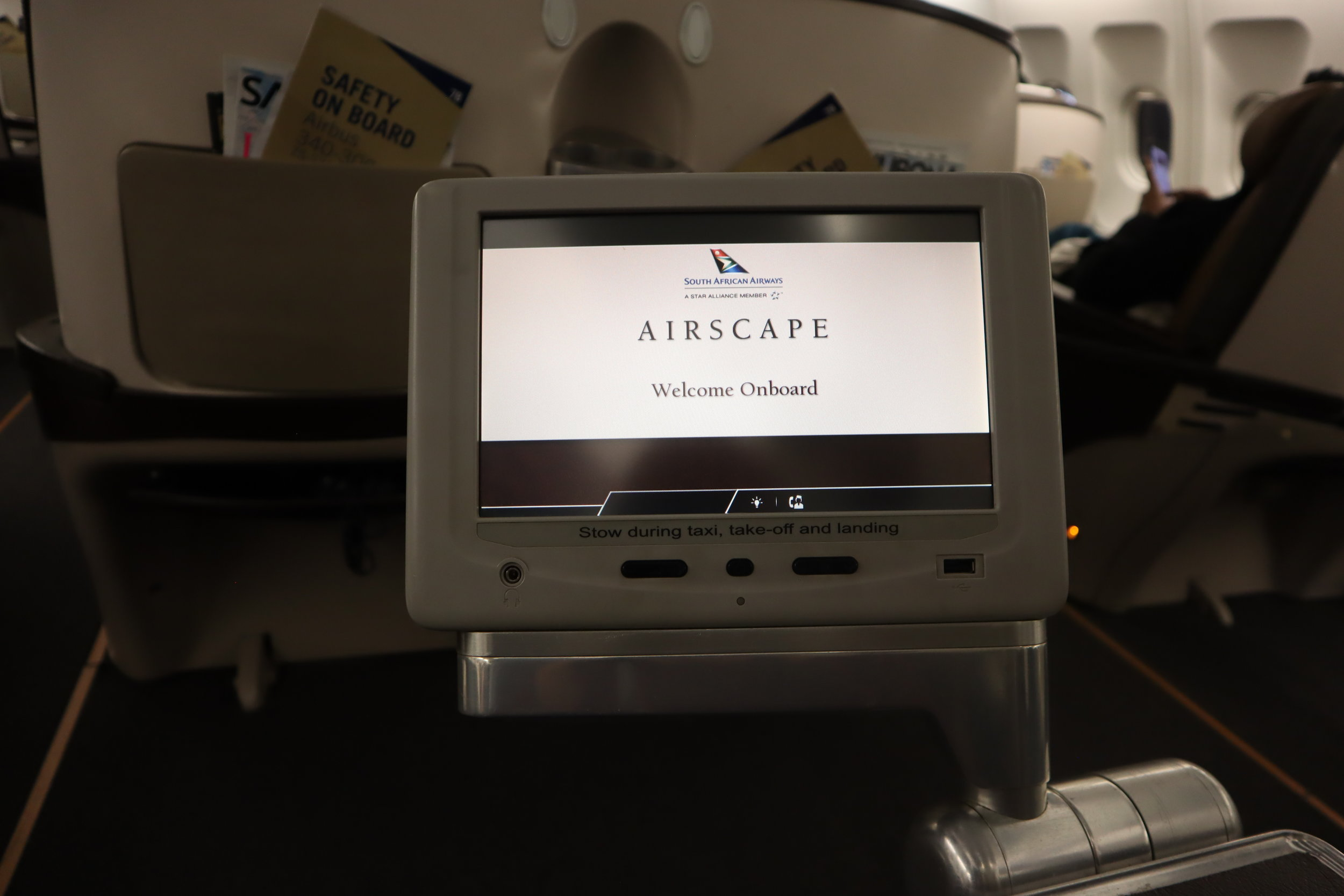 South African Airways business class – Entertainment monitor