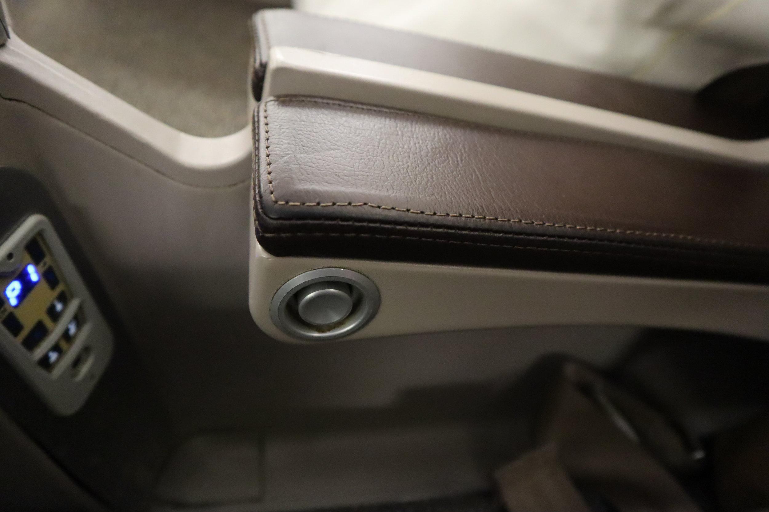 South African Airways business class – Armrest