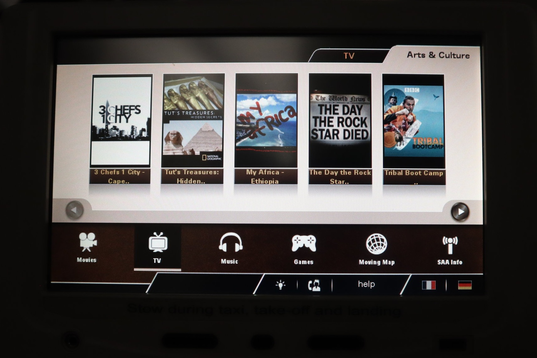 South African Airways business class – TV selection