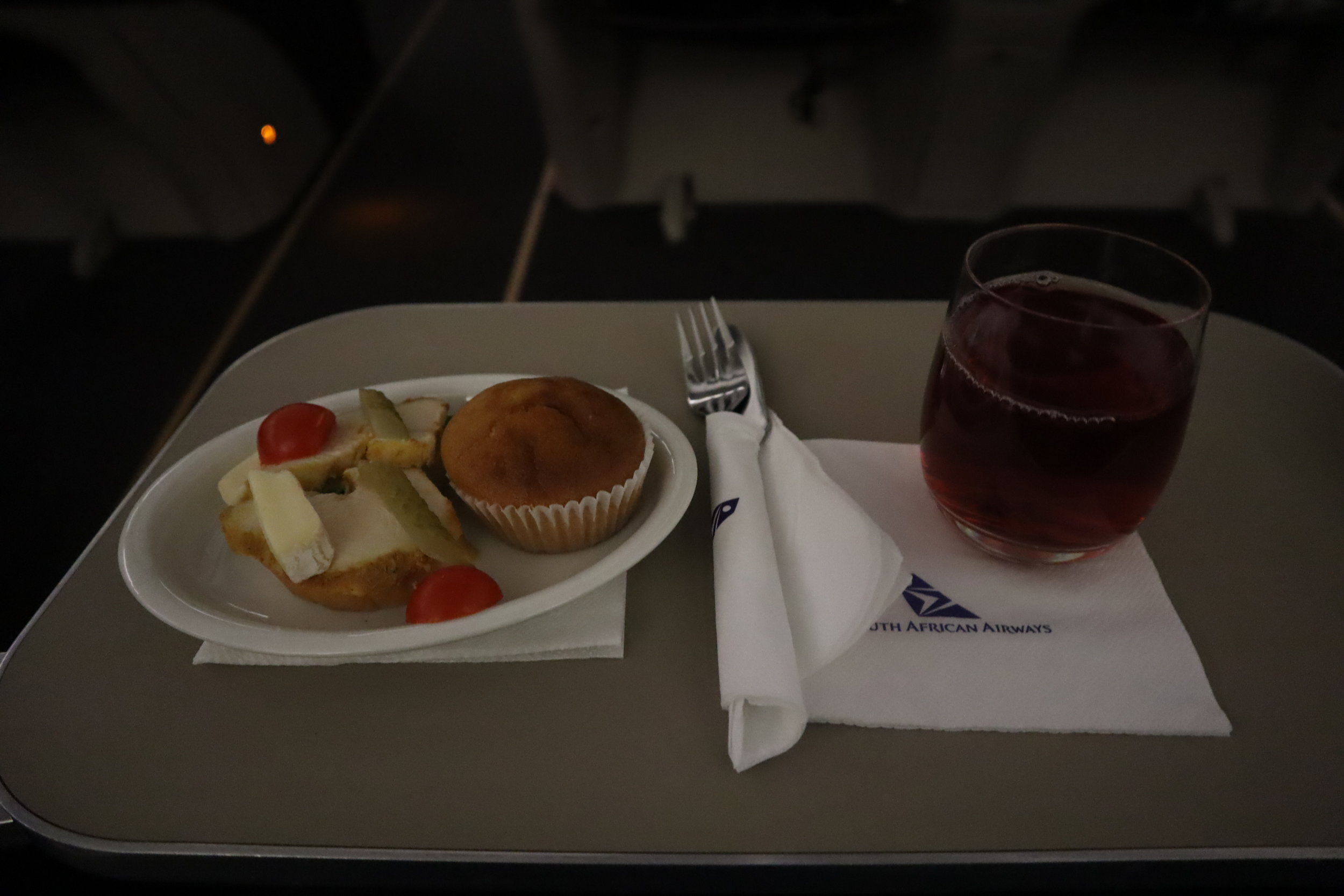 South African Airways business class – Snack service