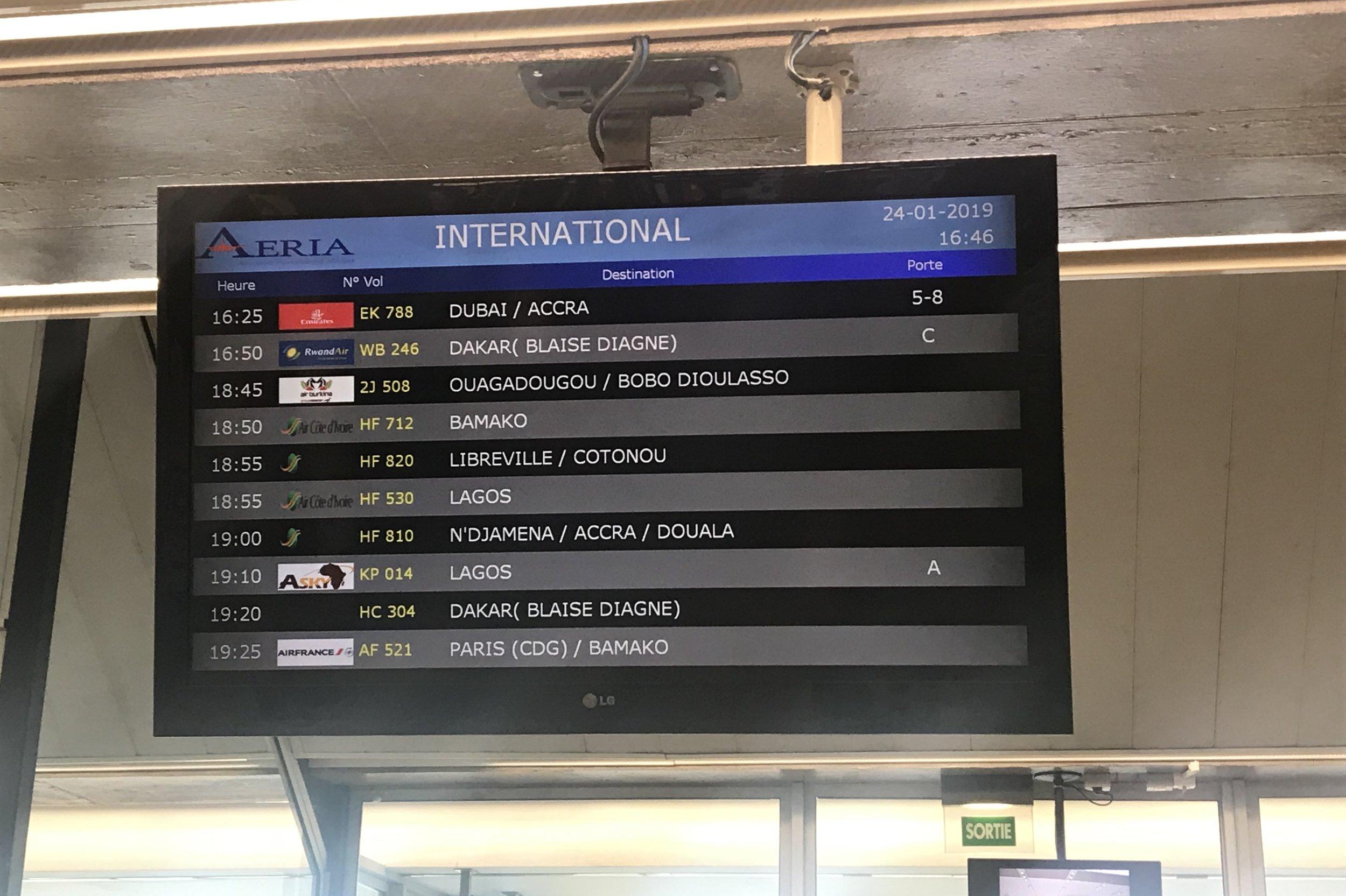 Abidjan Airport – Departures sign