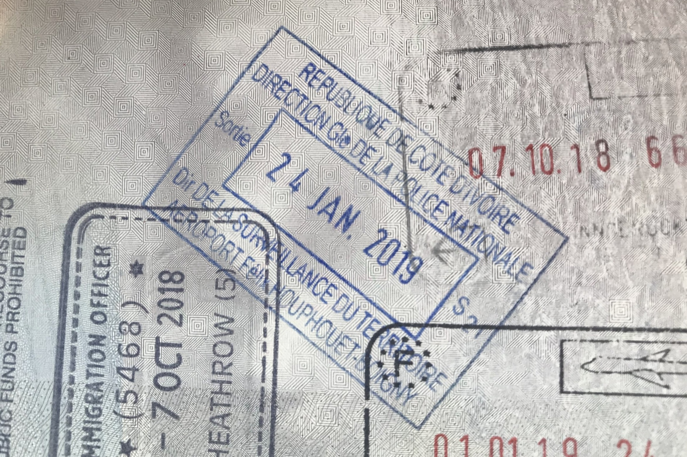 Côte d'Ivoire exit immigration stamp
