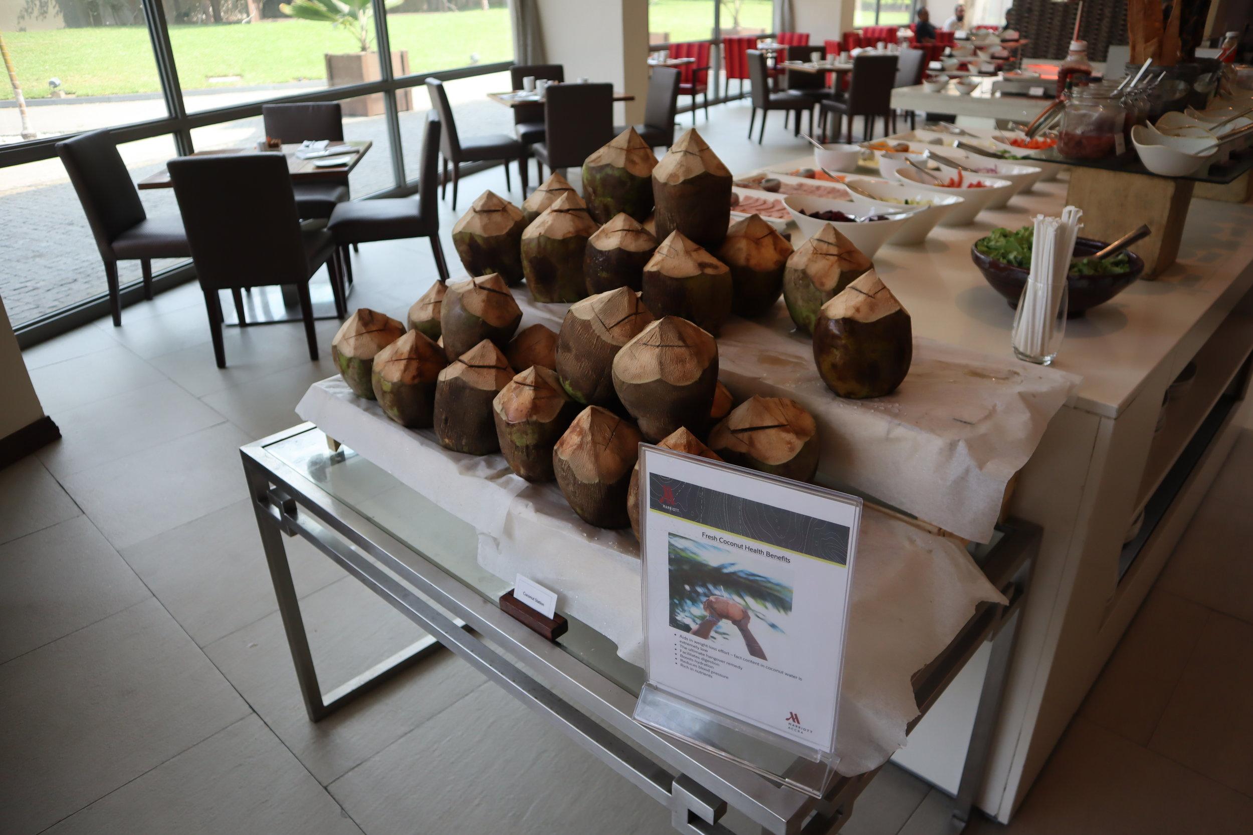Marriott Accra – Fresh coconuts for breakfast