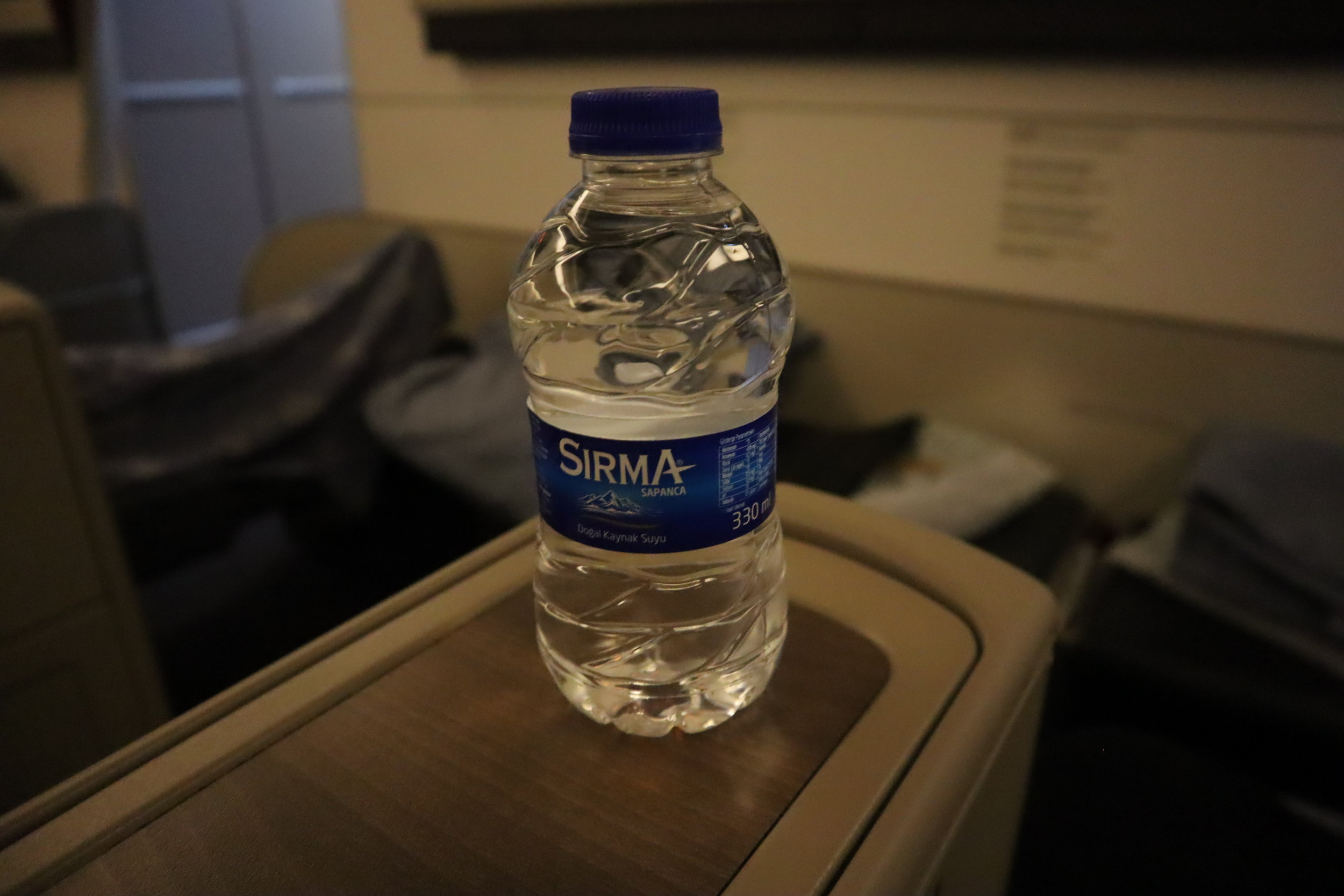 Turkish Airlines 777 business class – Bottled water
