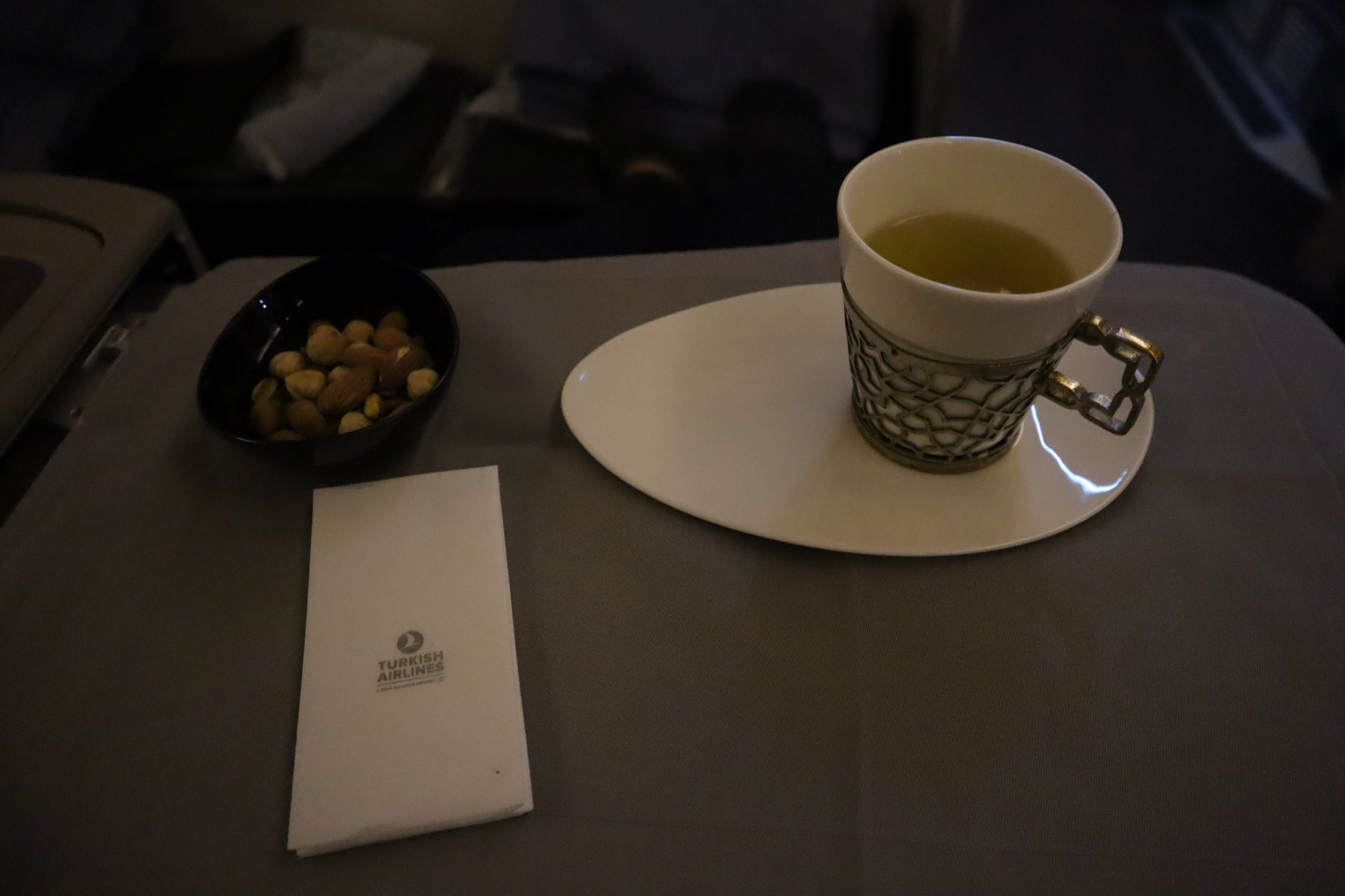 Turkish Airlines 777 business class – Mixed nuts and green tea