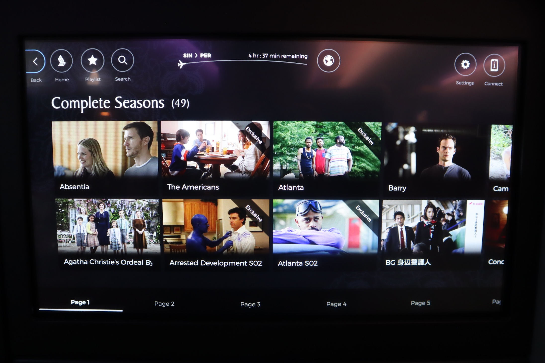Singapore Airlines 787-10 business class – TV selection