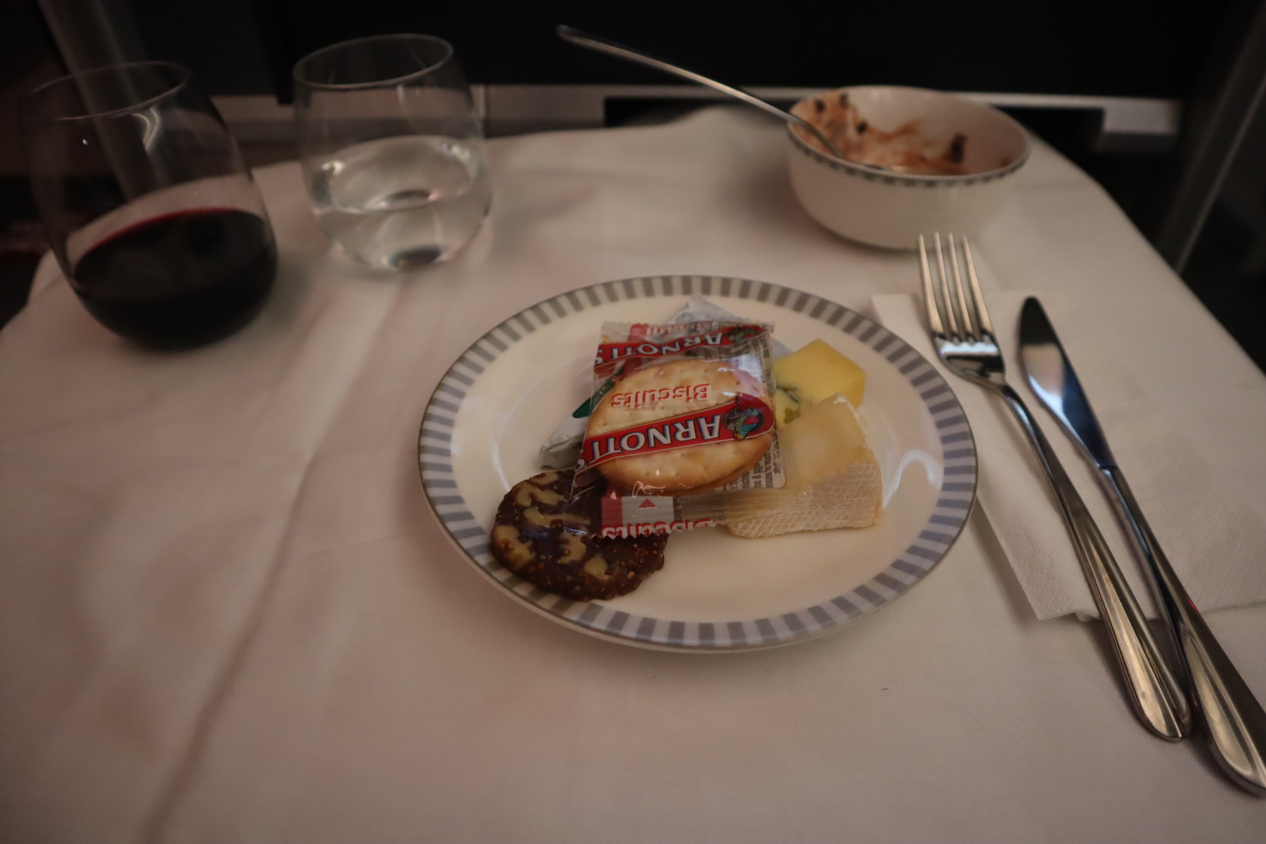 Singapore Airlines 787-10 business class – Cheese plate