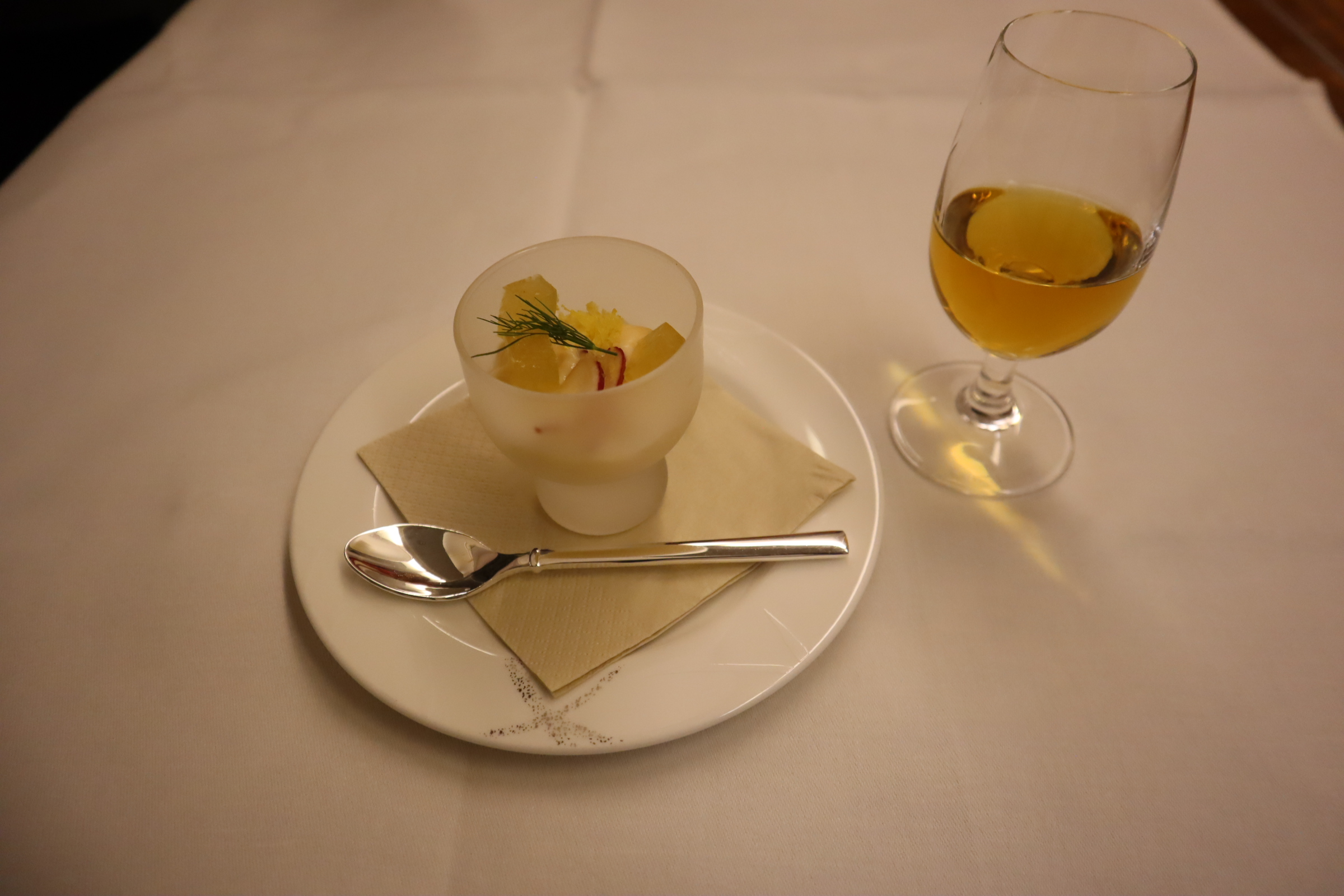 Cathay Pacific First Class – Amuse bouche and whiskey