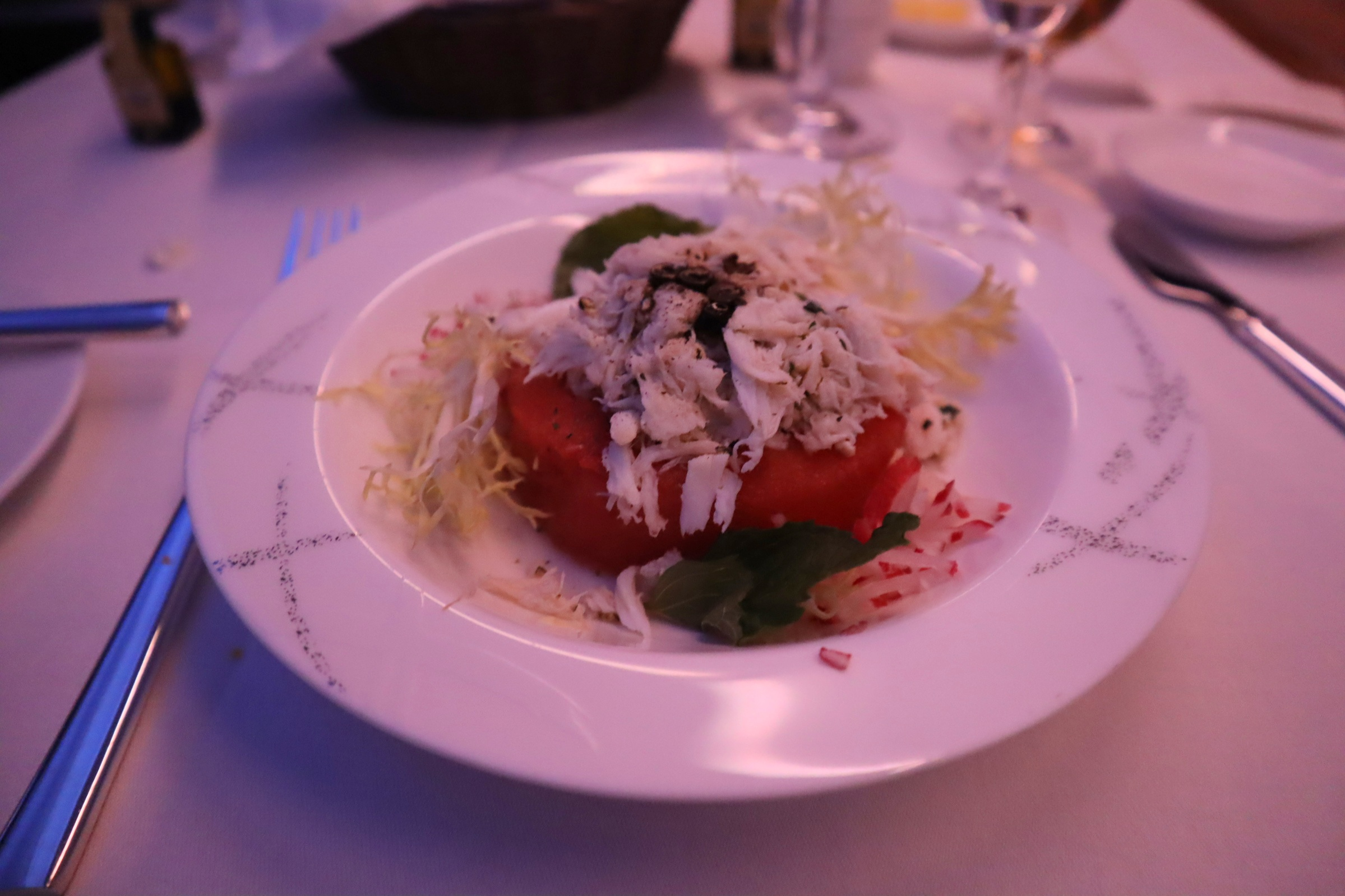 Cathay Pacific First Class – Watermelon and lobster salad