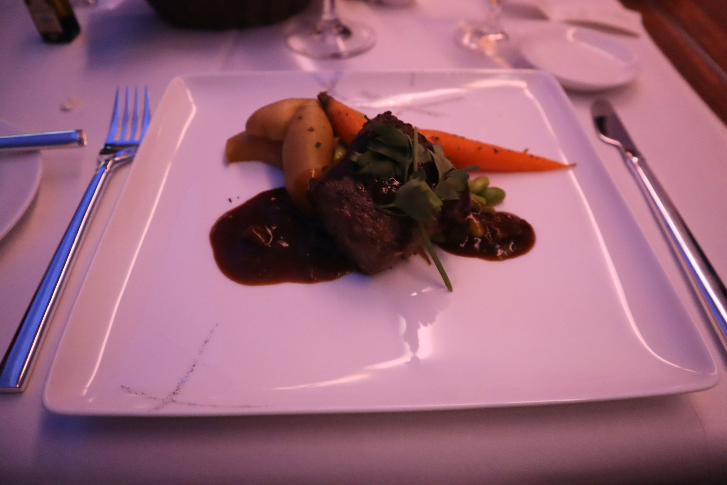 Cathay Pacific First Class – Grilled lamb loin