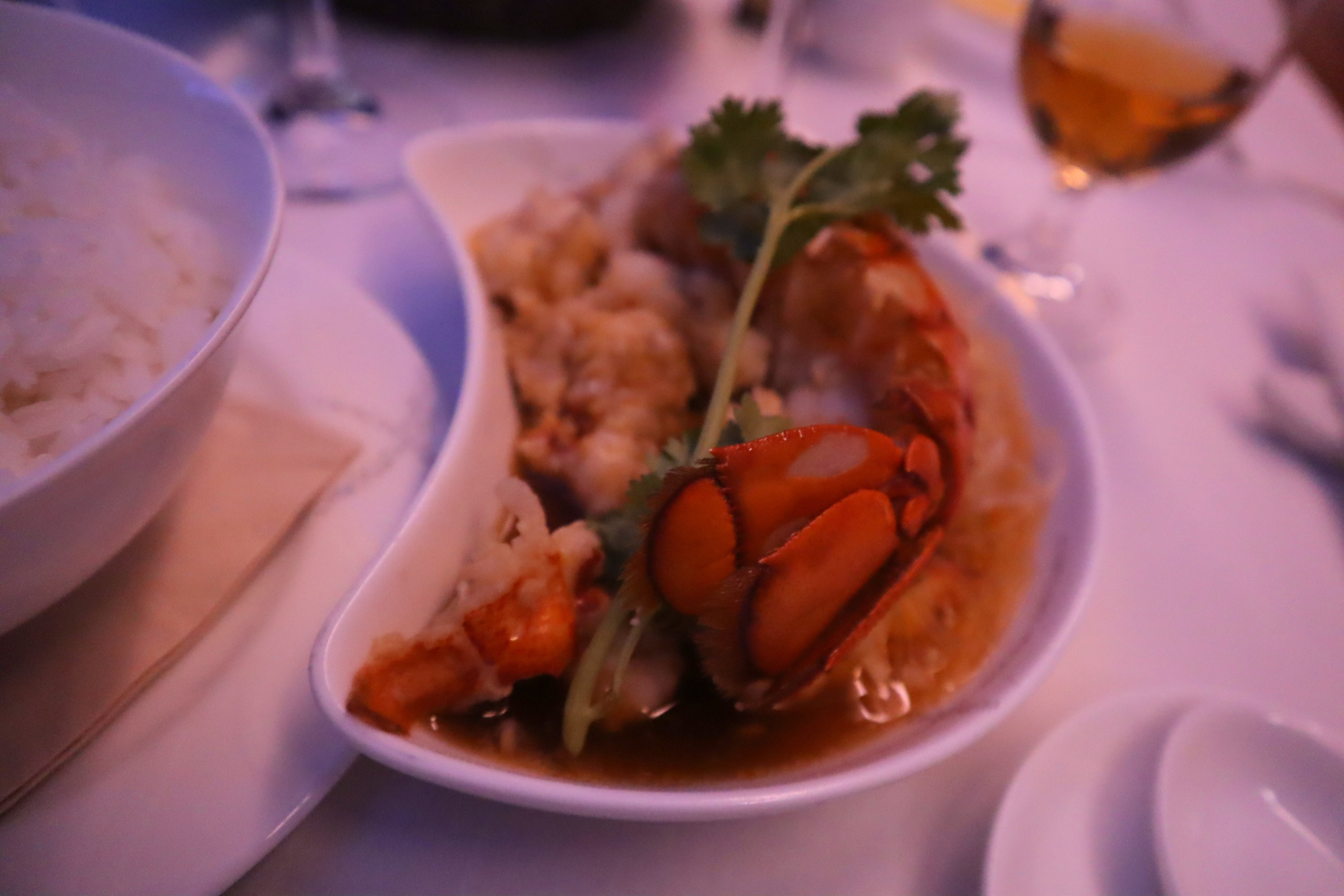 Cathay Pacific First Class – Stir-fried lobster with rice and gai lan