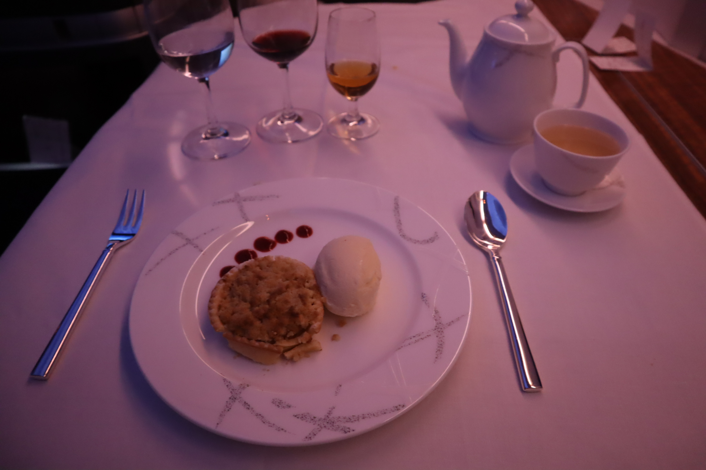 Cathay Pacific First Class – Apple tart with vanilla ice cream