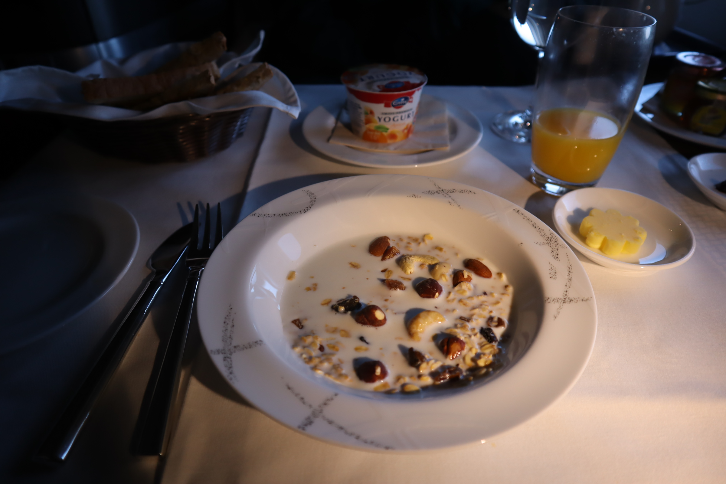 Cathay Pacific First Class – Muesli and yogurt