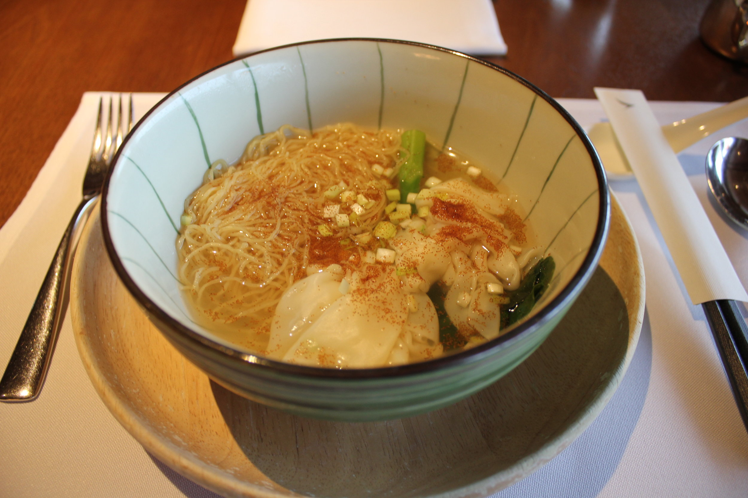 Shrimp wonton noodles at The Pier First Class Lounge, February 2018