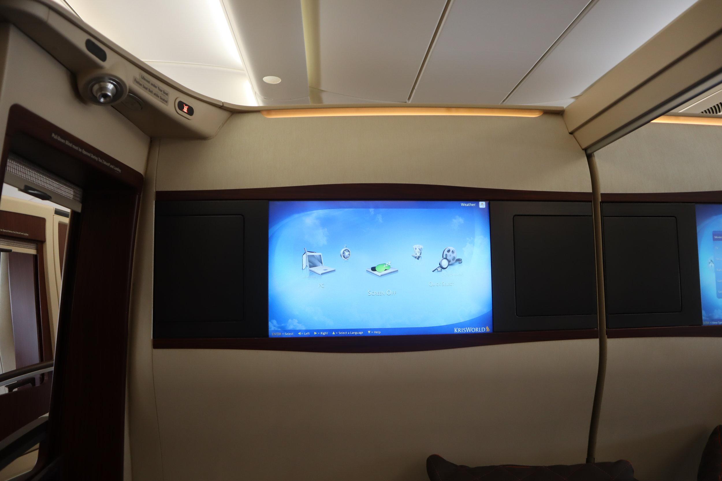 Singapore Airlines Suites Class – Entertainment screen