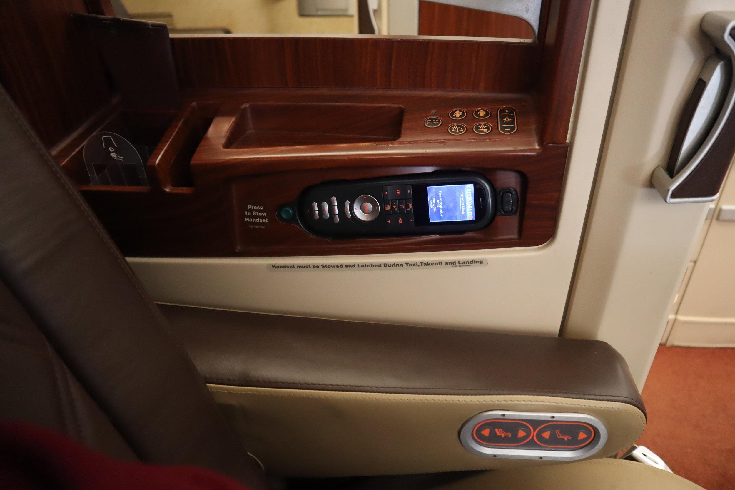 Singapore Airlines Suites Class – Control panel