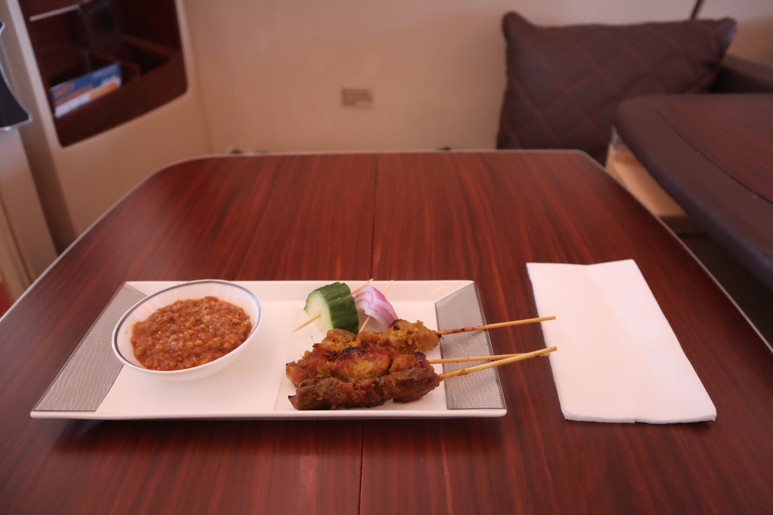 Singapore Airlines Suites Class – Chicken and lamb satay