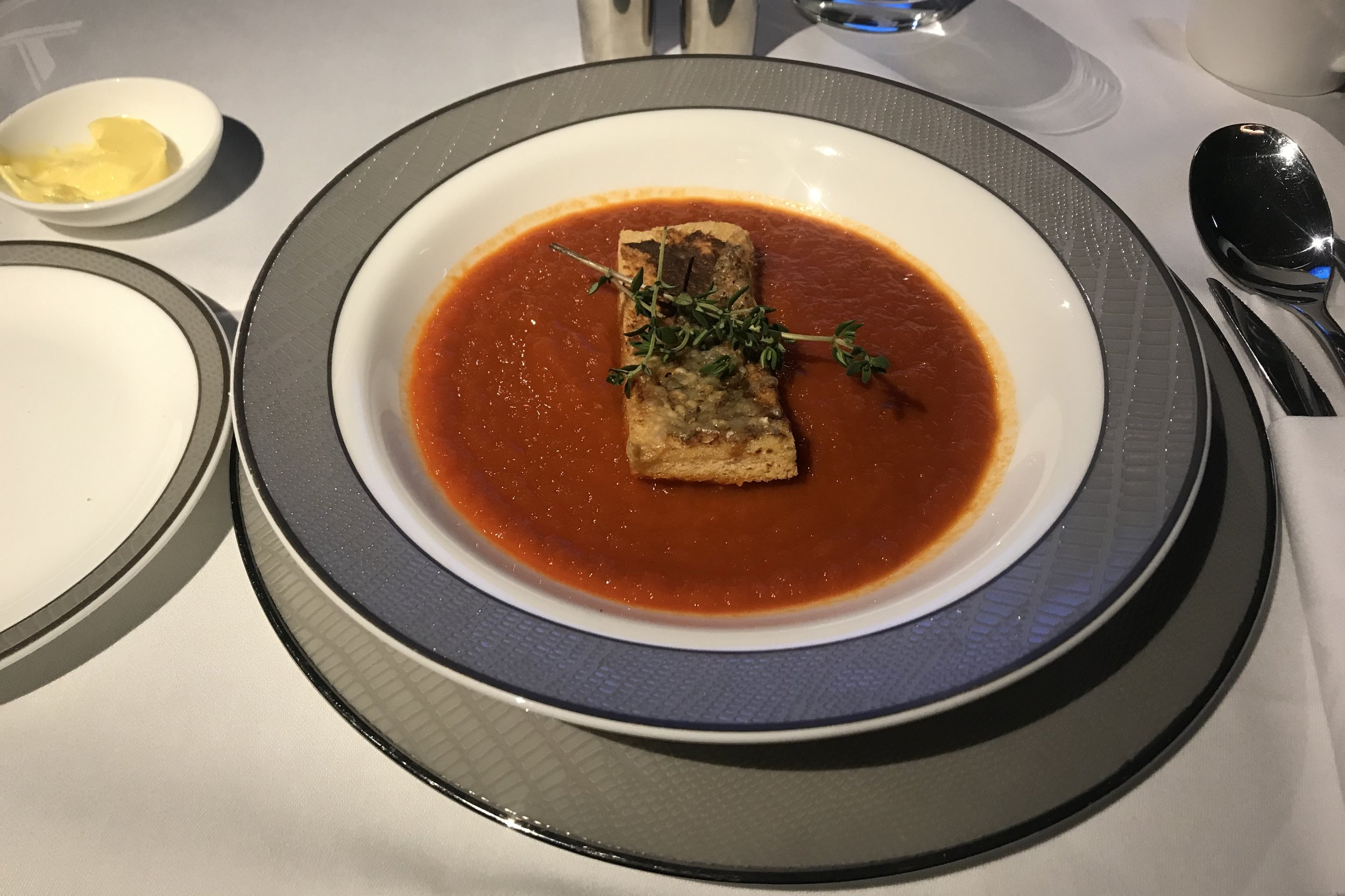 Singapore Airlines Suites Class – Roasted tomato soup