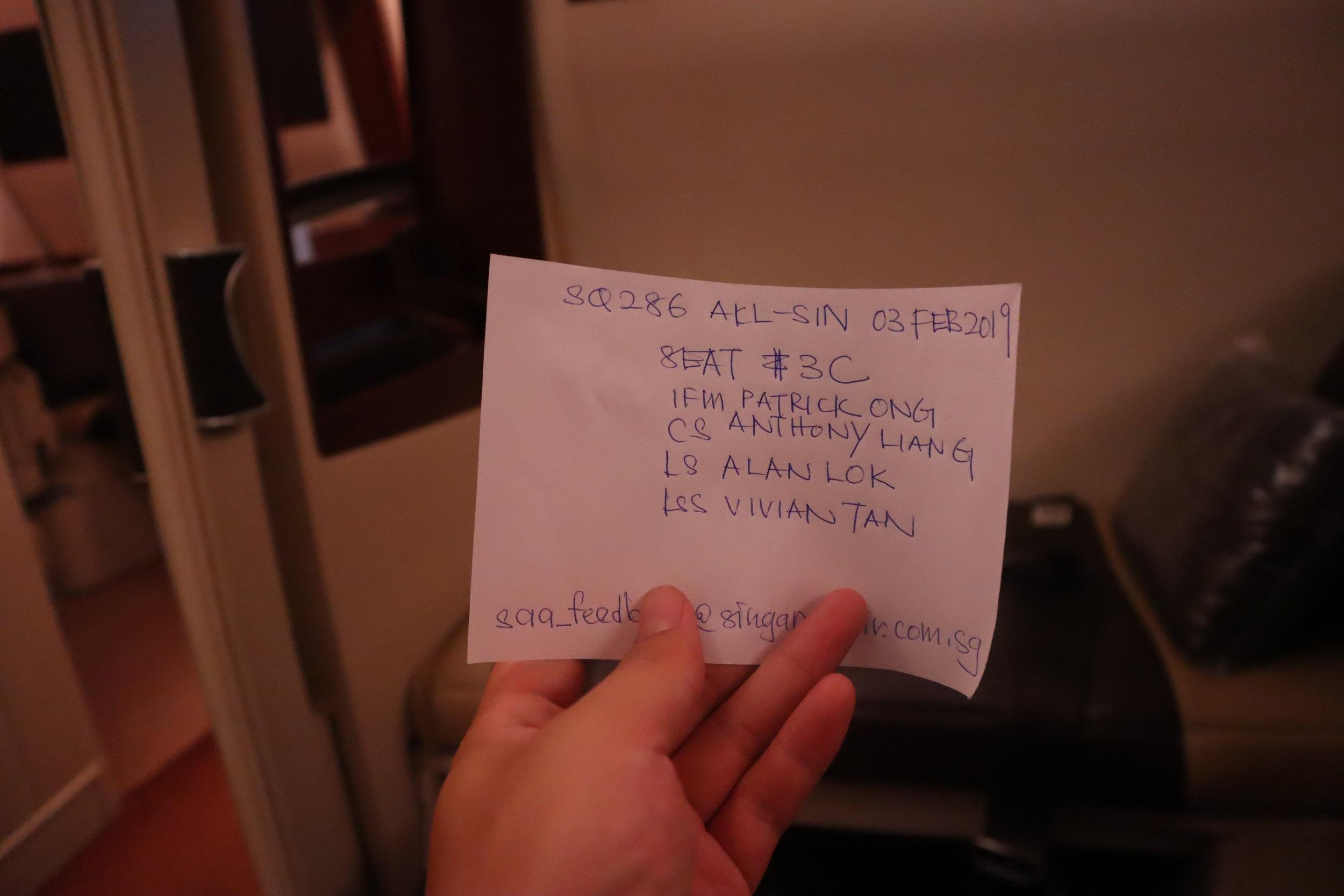 Singapore Airlines Suites Class – Comment card