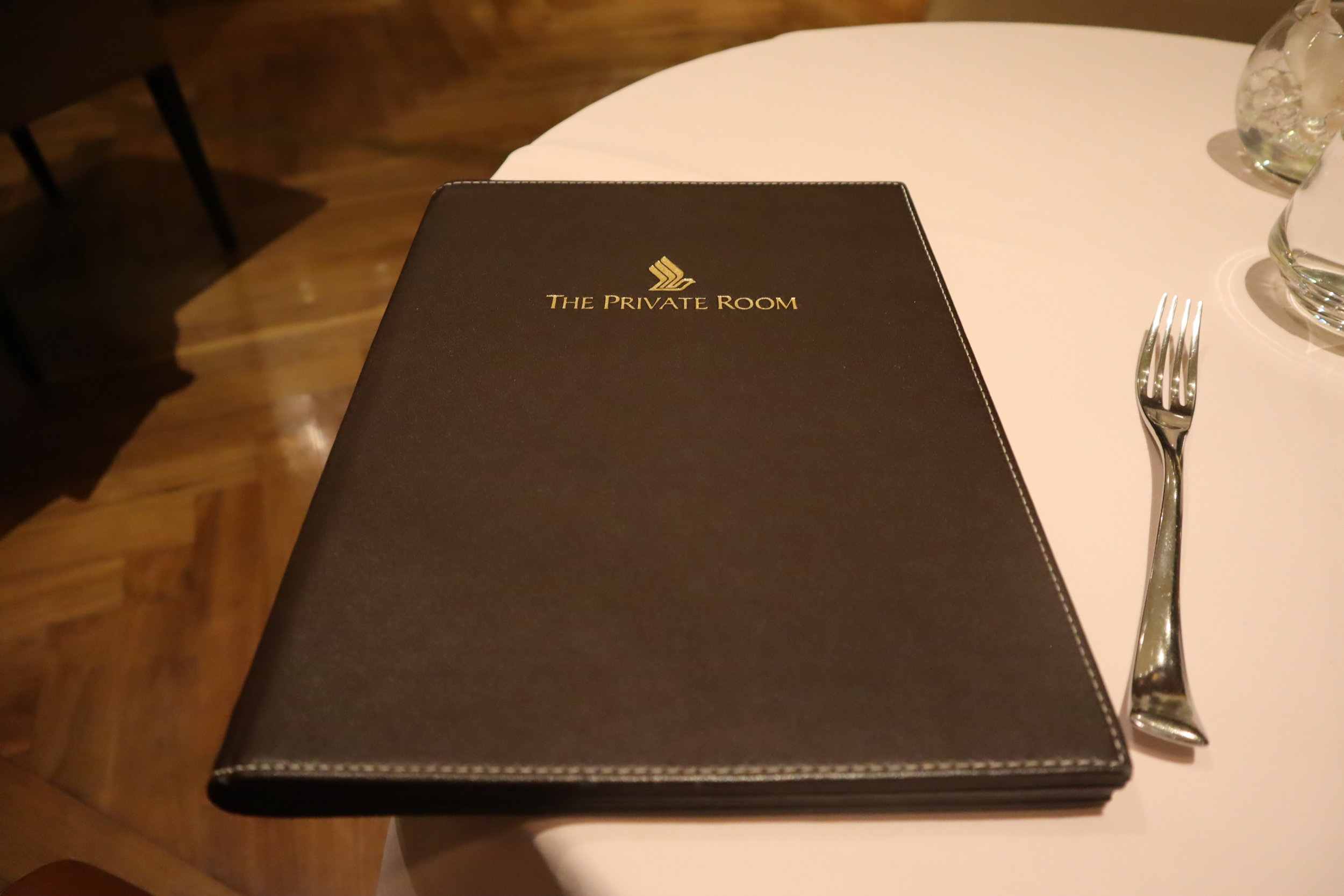 The Private Room by Singapore Airlines – Menu