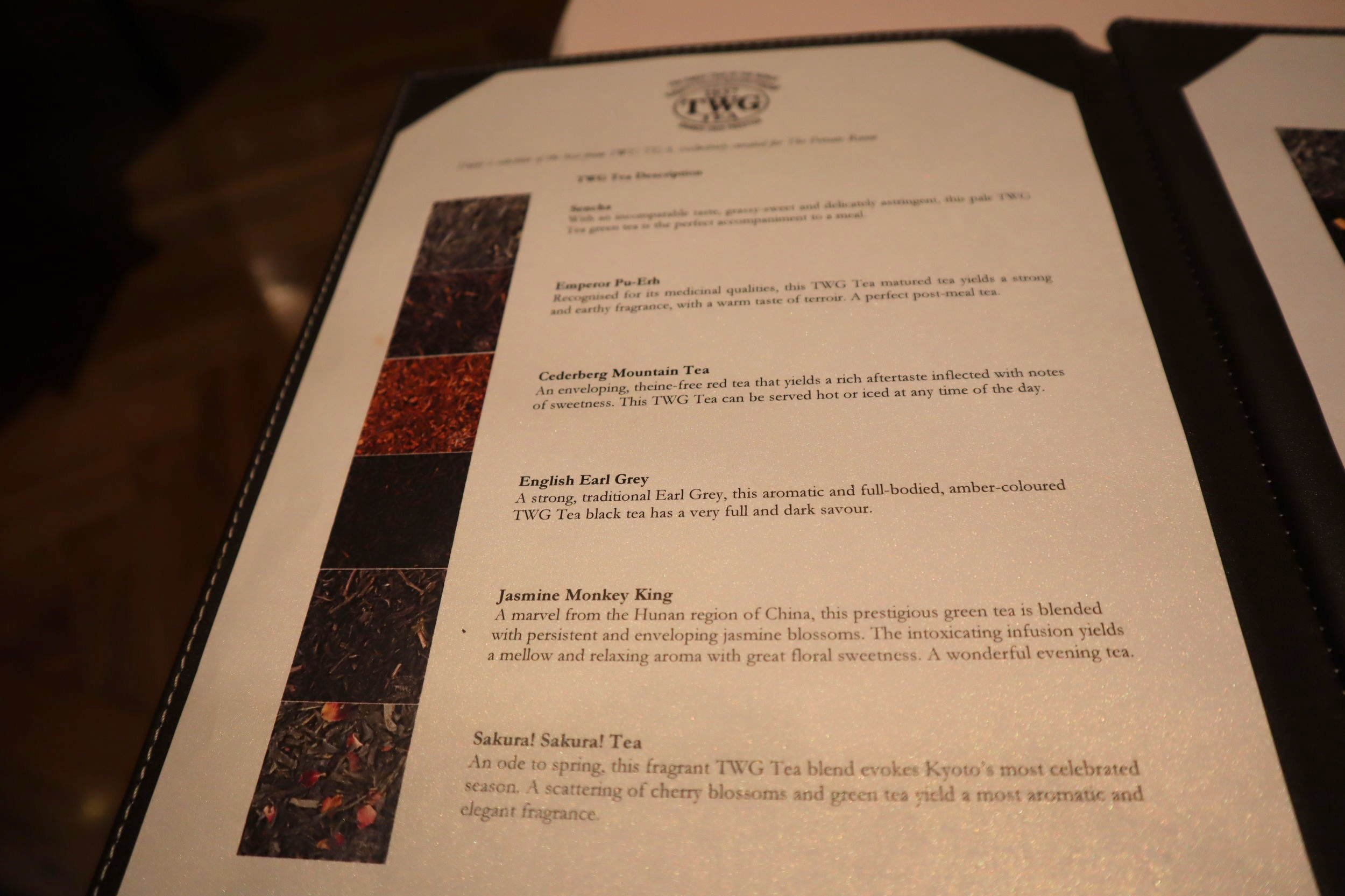 The Private Room by Singapore Airlines – Tea menu
