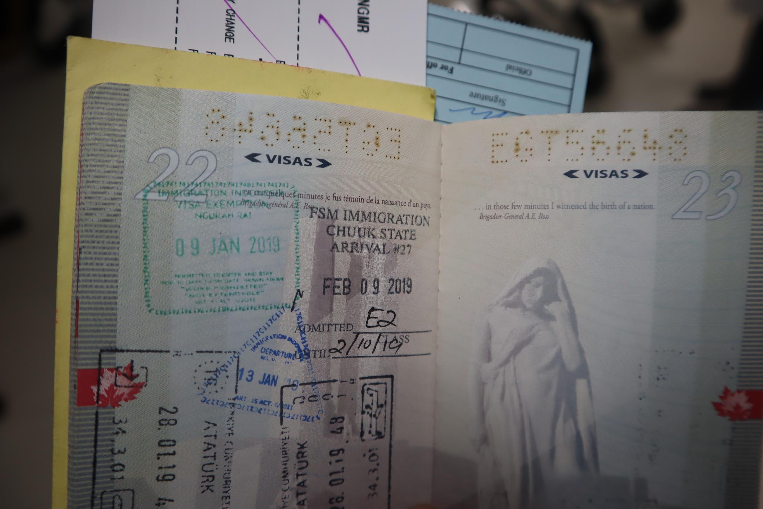 Chuuk FSM entry stamp