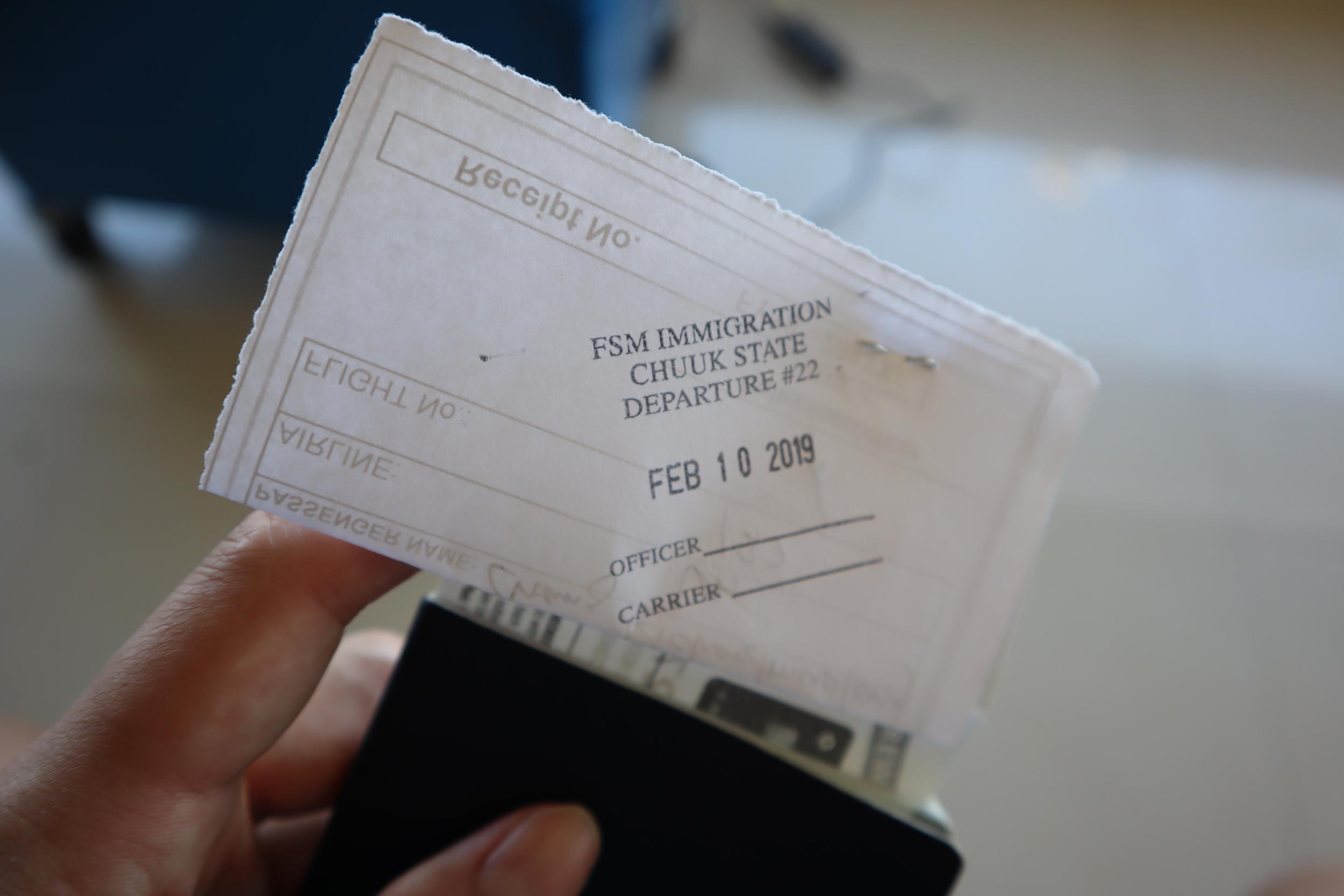 Chuuk FSM exit stamp