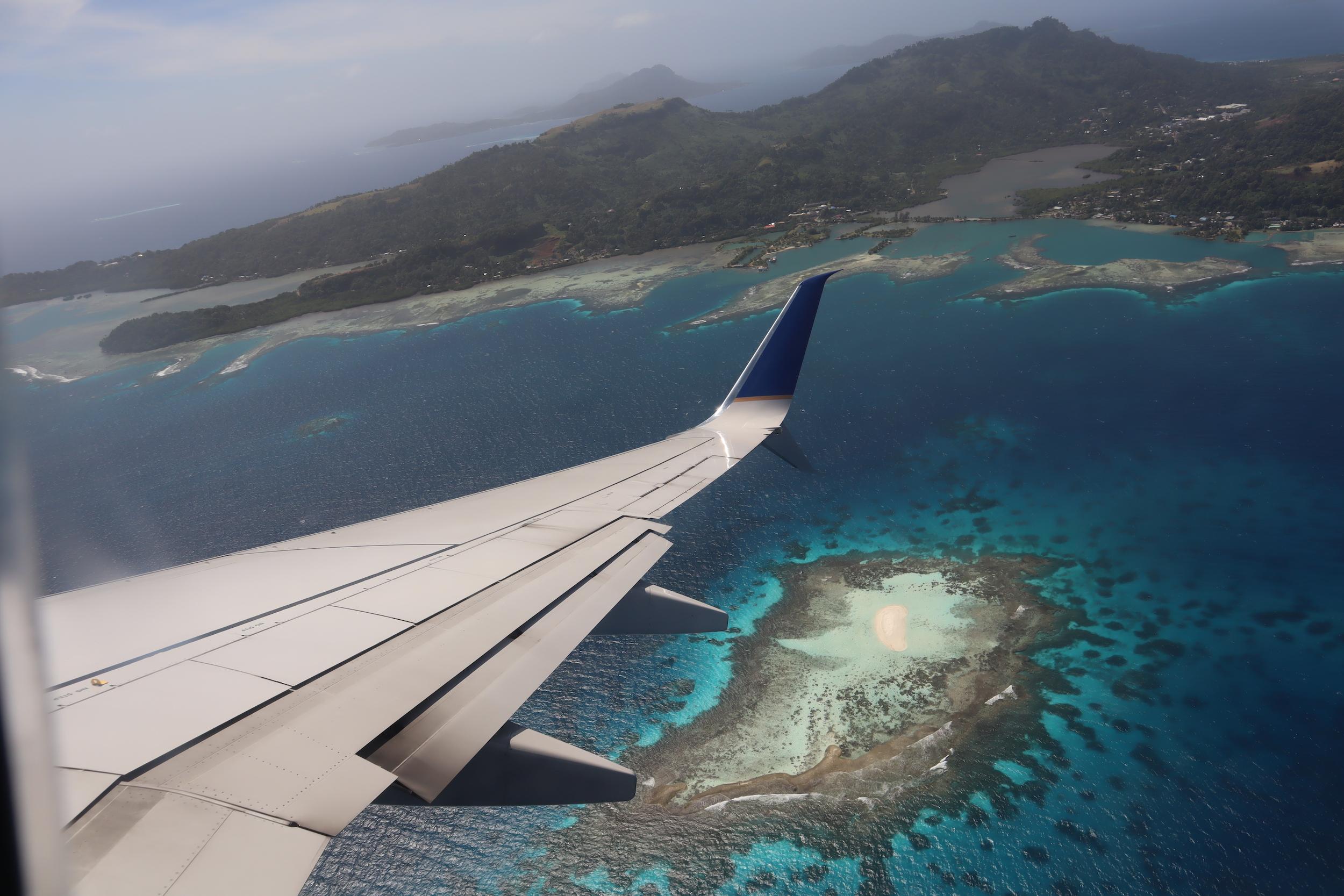 Views of Chuuk Lagoon upon takeoff