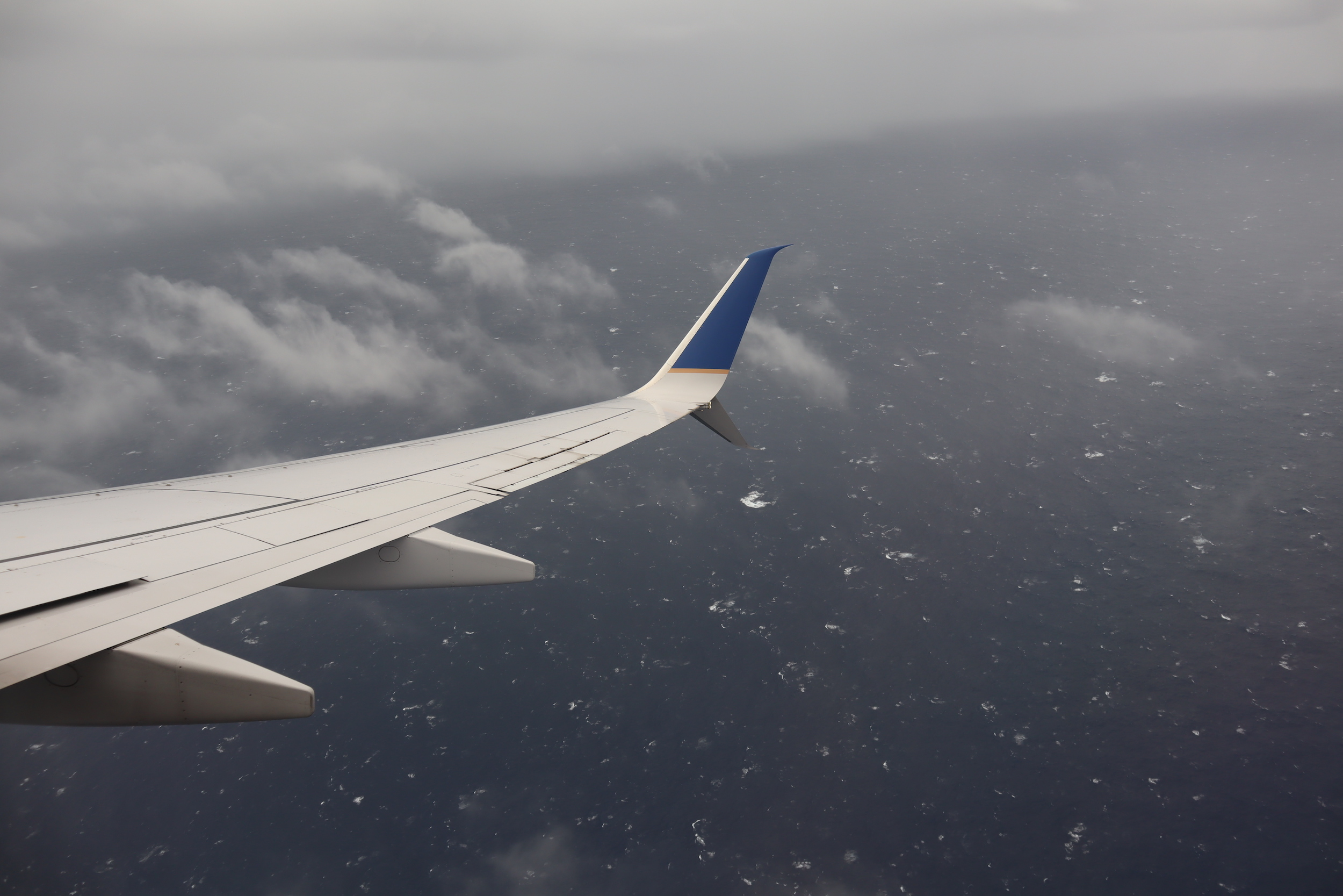 United Flight 155 – Views of the ocean upon go-around from Kosrae