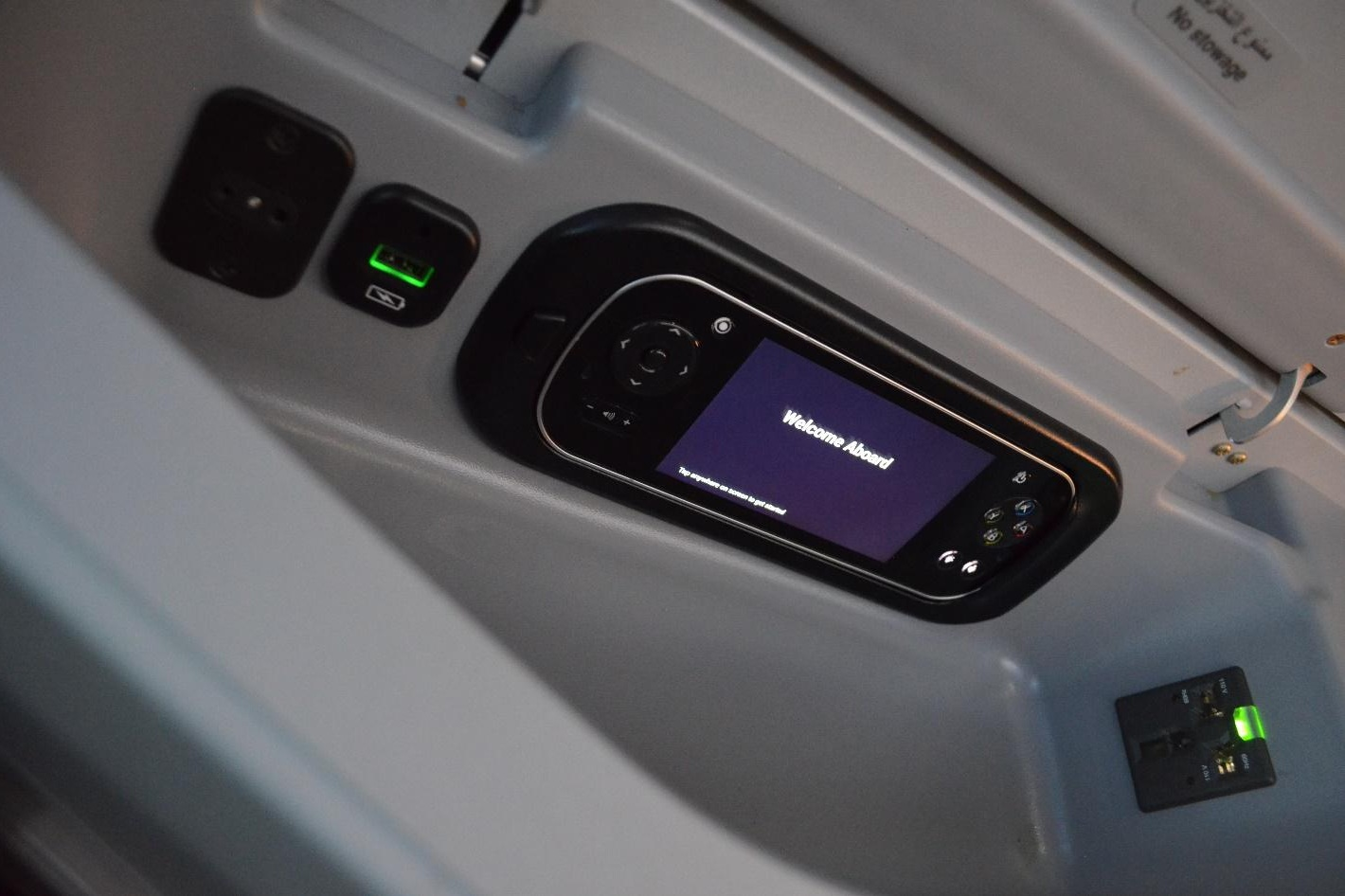 EgyptAir 787 business class – Storage unit and entertainment controller