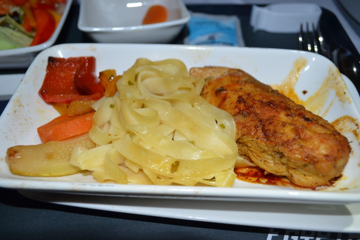 EgyptAir 787 business class – Roasted chicken breast with barbecue sauce