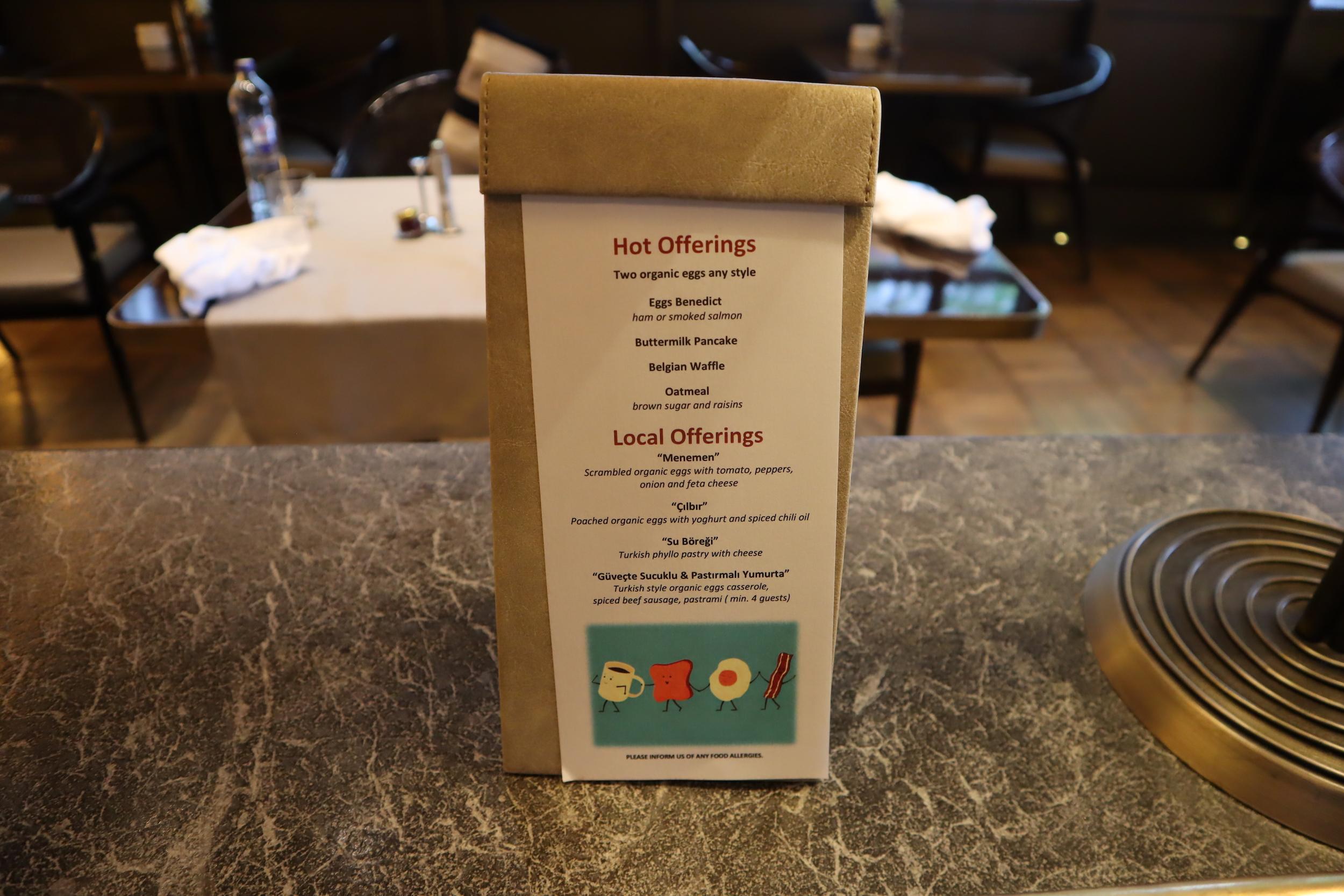 St. Regis Istanbul – À la carte breakfast menu