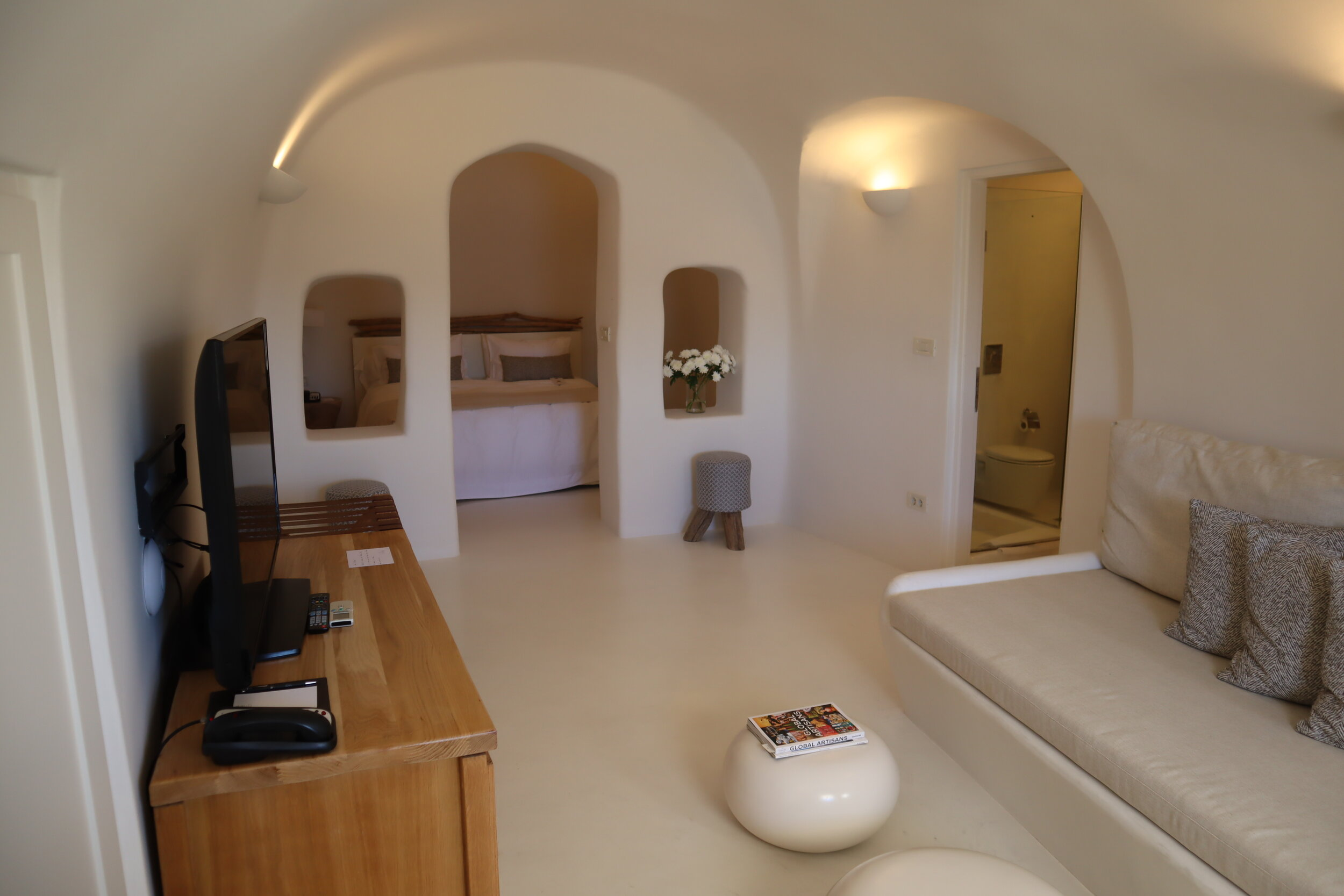 Mystique Santorini – Wet Allure Suite living room